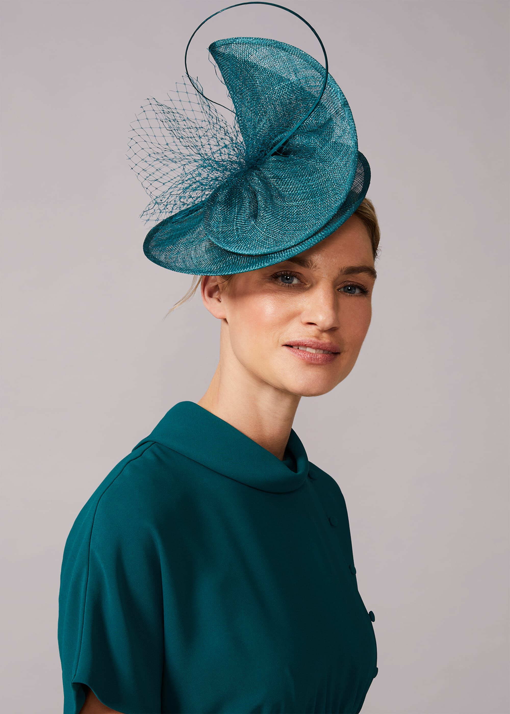 Phase Eight Karlen Fascinator, Green, Fascinator
