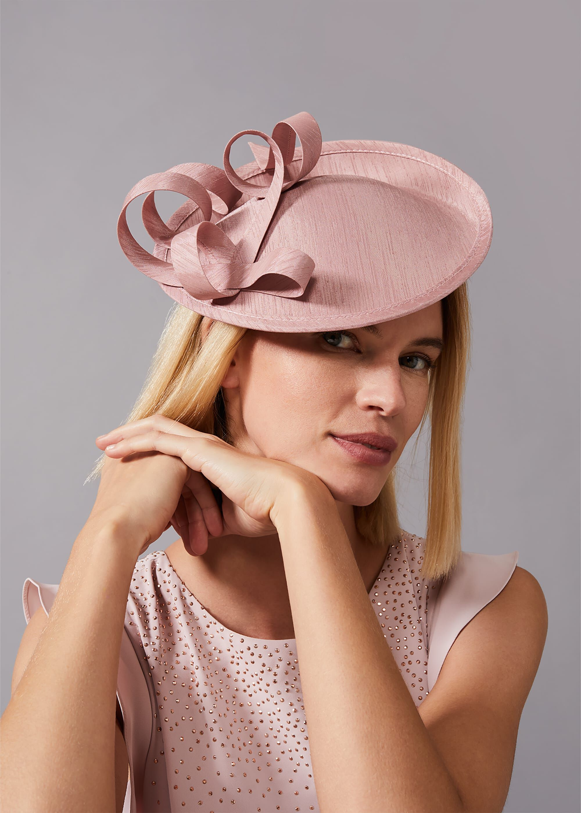 Phase Eight Joana Shantung Silk Disc Fascinator, Pink, Fascinator