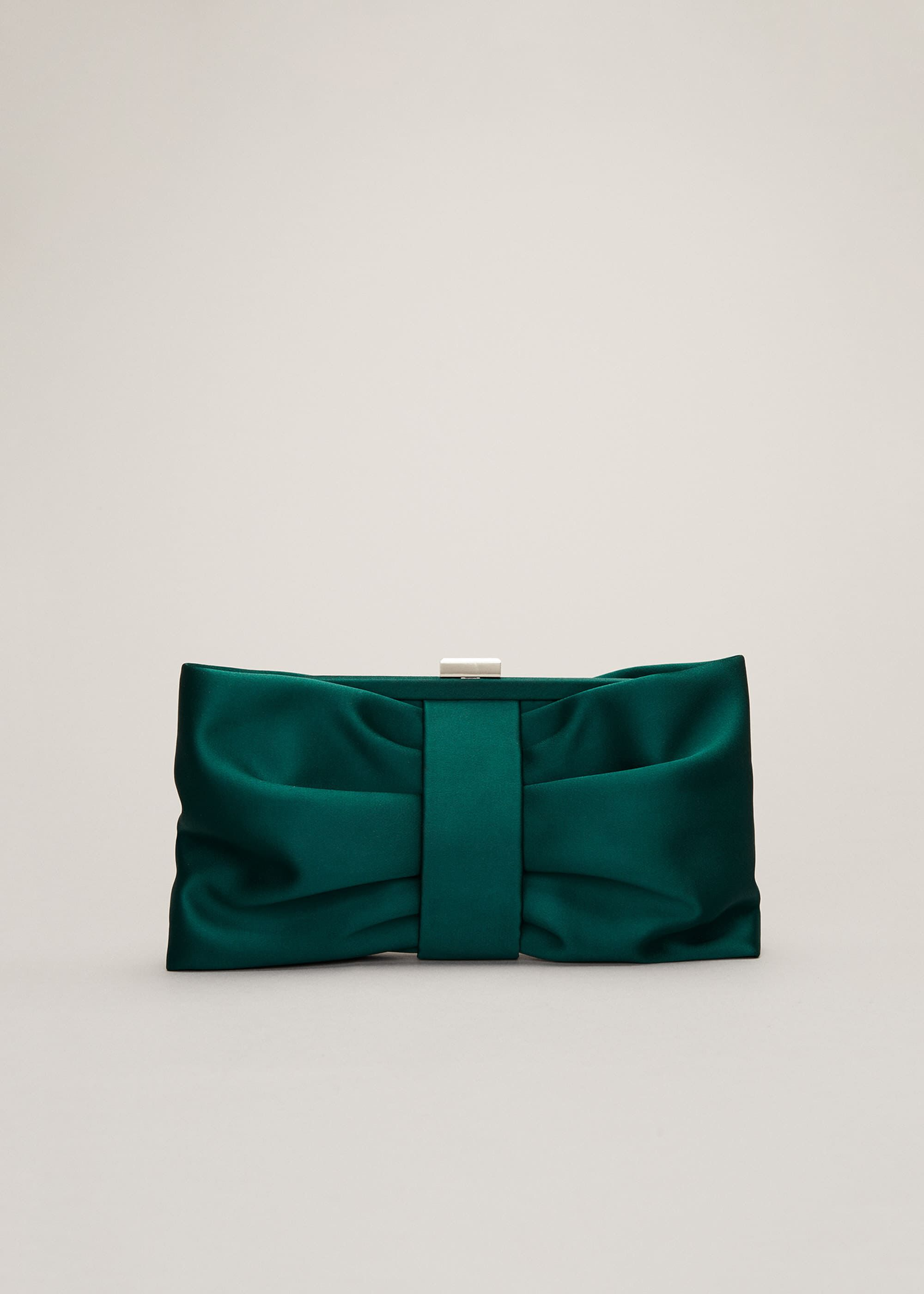 Phase Eight Meaghan Satin Bow Clutch Bag, Green, Bag