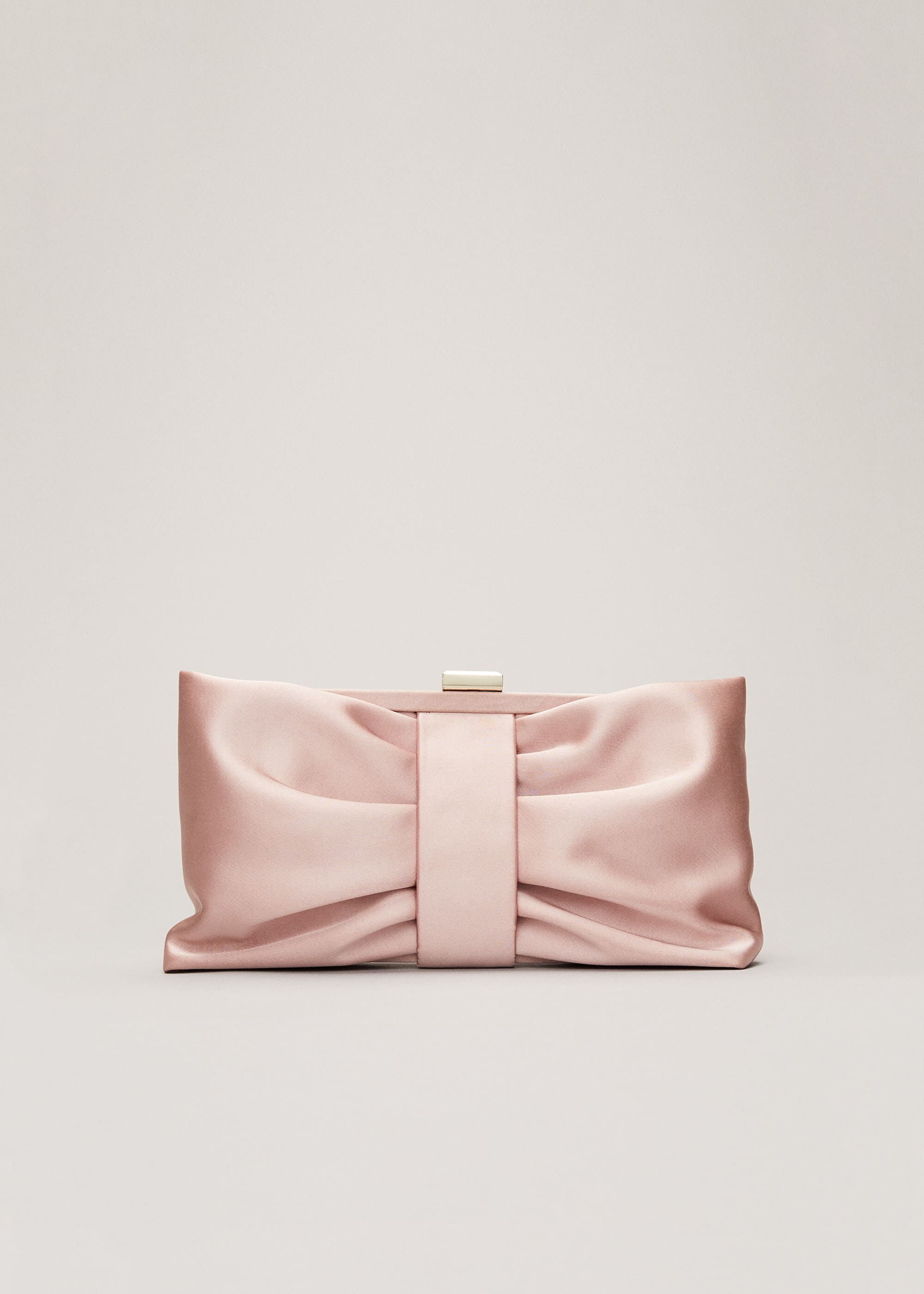 Phase Eight Meaghan Satin Bow Clutch Bag, Pink, Bag