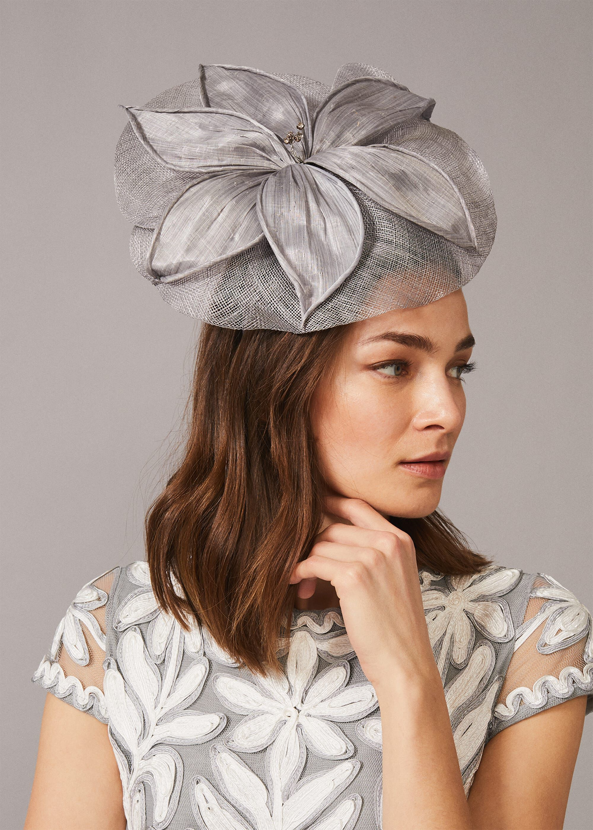 Phase Eight Andie Flower Disc Fascinator, Metallic, Fascinator