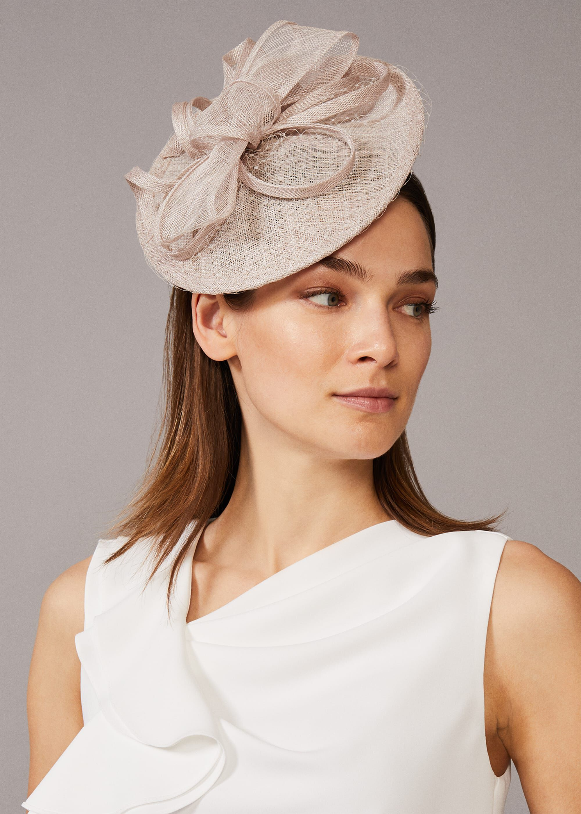 Phase Eight Rihana Bow Disc Fascinator, Cream, Fascinator