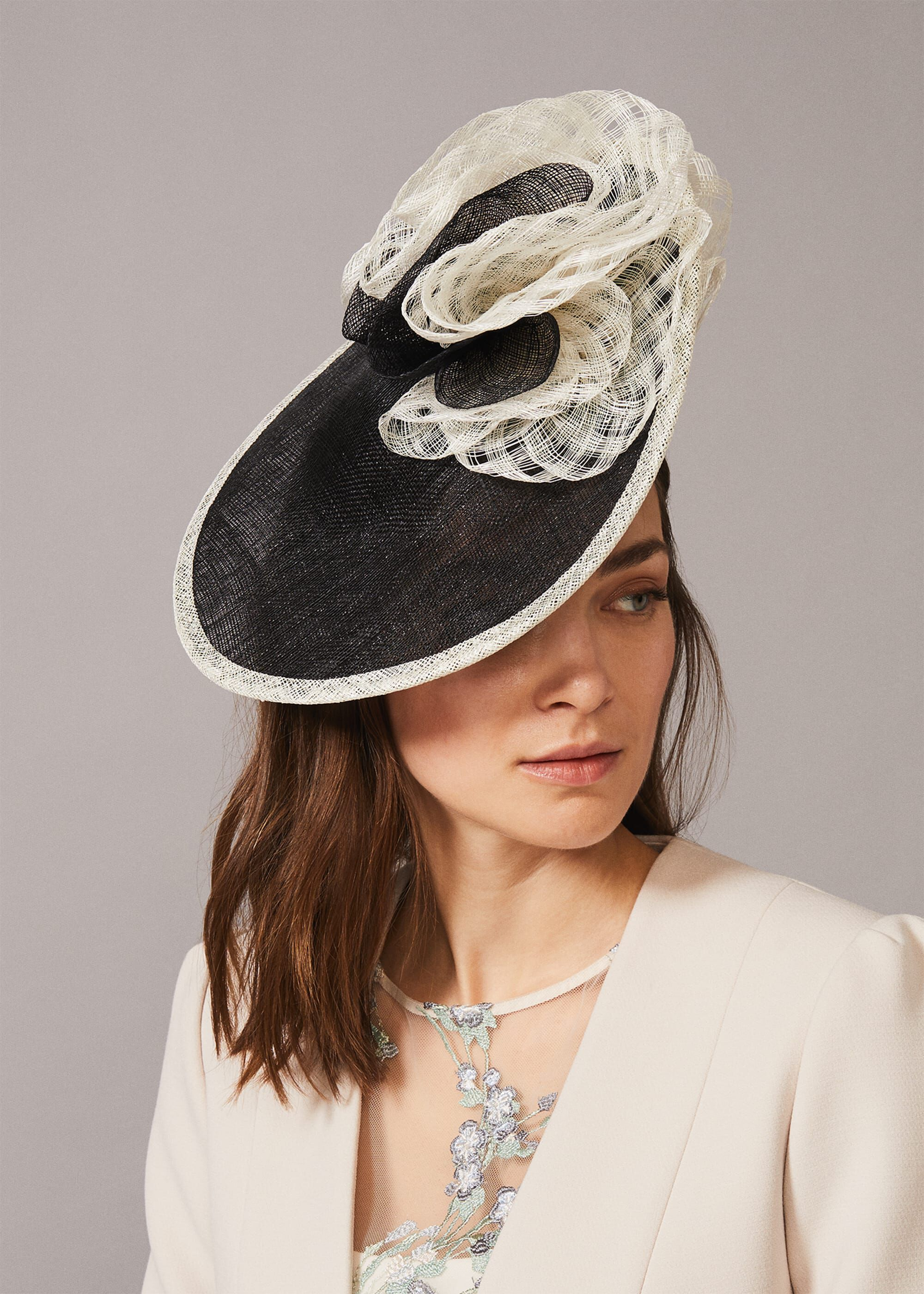 Phase Eight Lesi Underbrim Disc Fascinator, Black, Fascinator