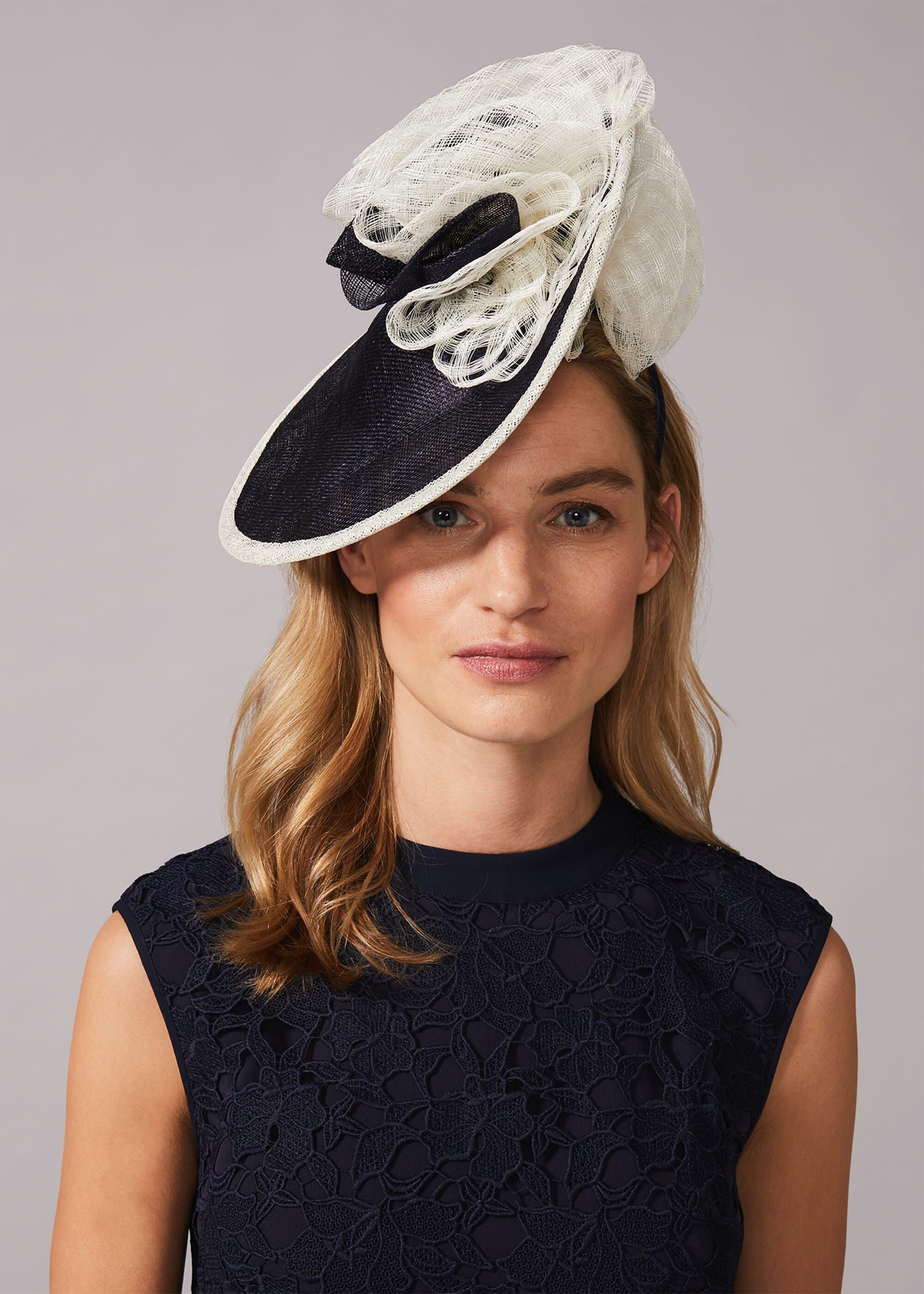 Phase Eight Lesi Underbrim Disc Fascinator, Blue, Fascinator