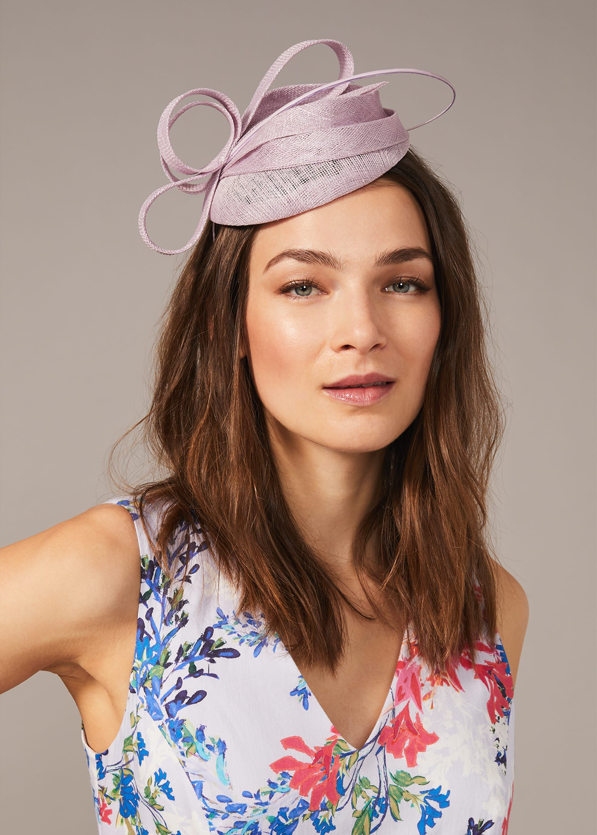 Phase Eight Koa Pillbox Fascinator, Purple, Fascinator