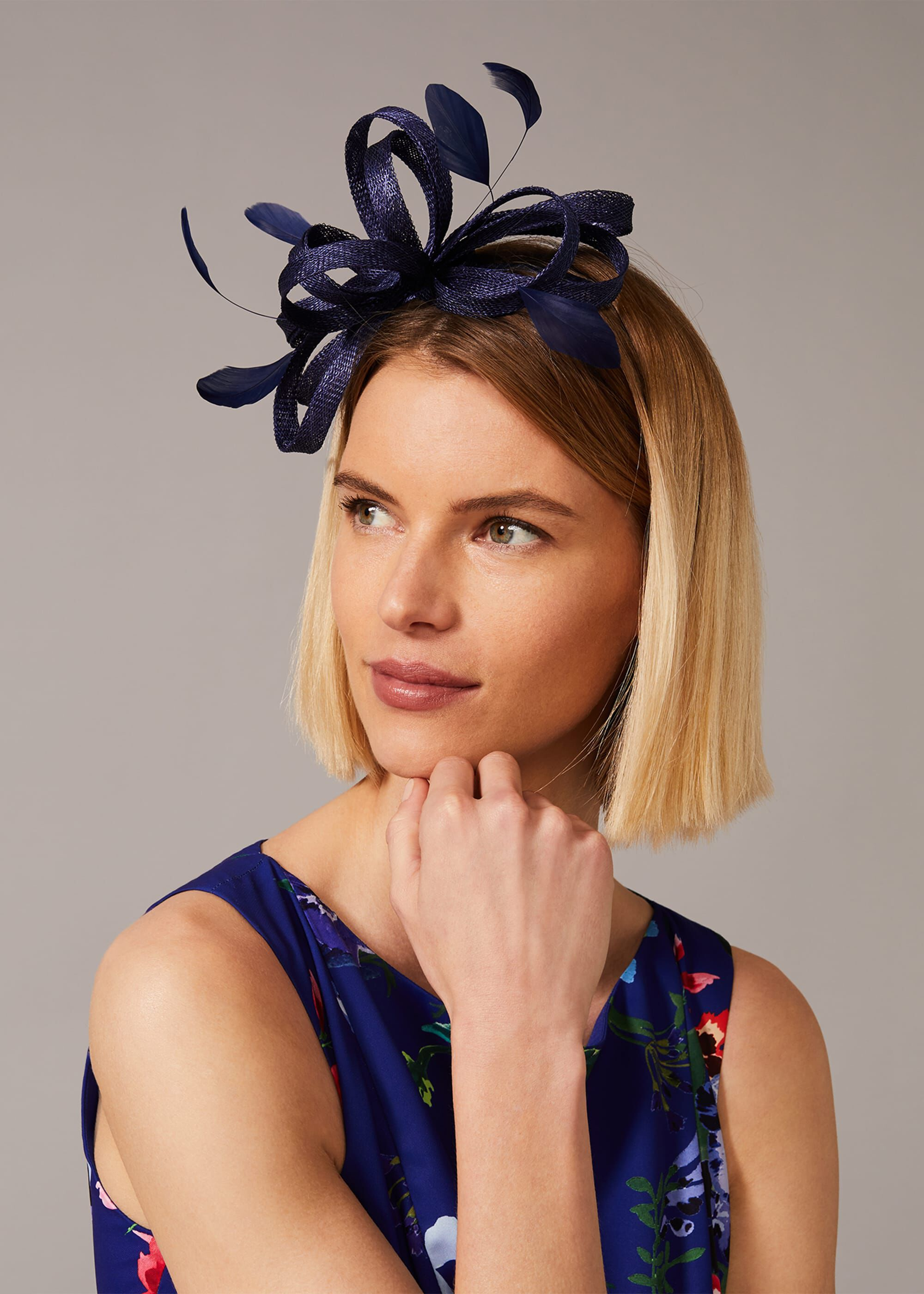 Phase Eight Tabitha Headband, Blue, Fascinator
