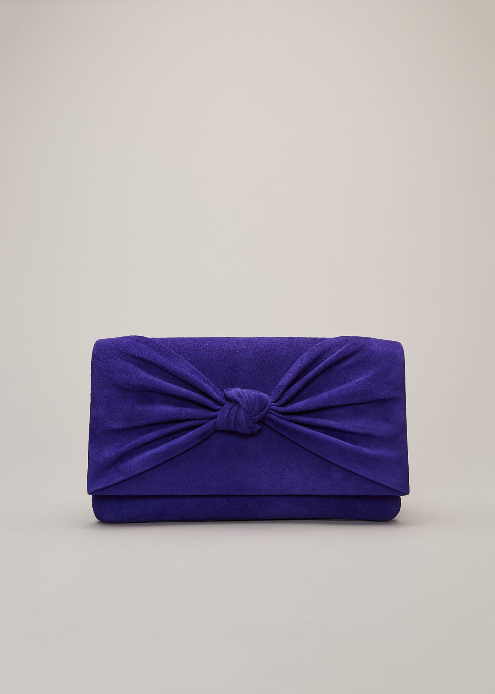 Phase Eight Carrie Knot Front Clutch Bag, Blue, Bag