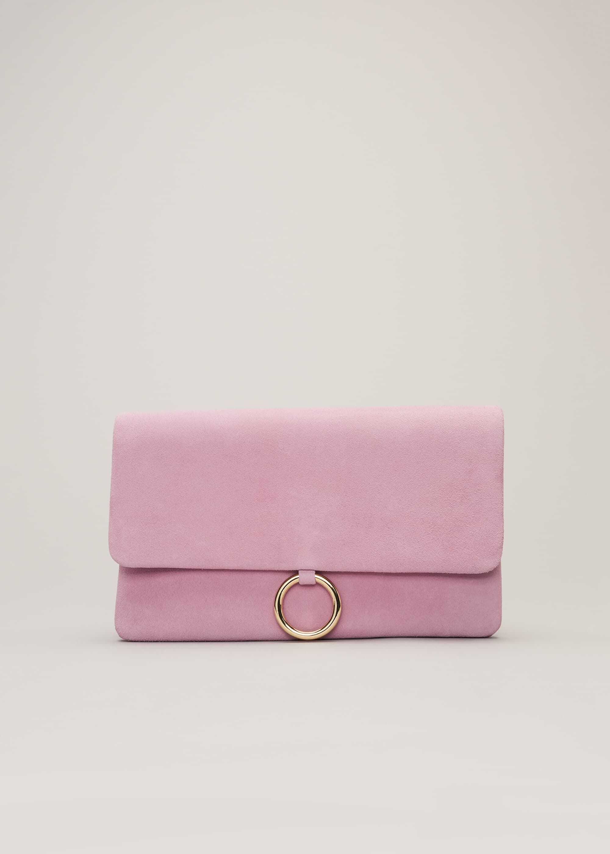 Phase Eight Giselle Suede Clutch Bag, Pink, Bag