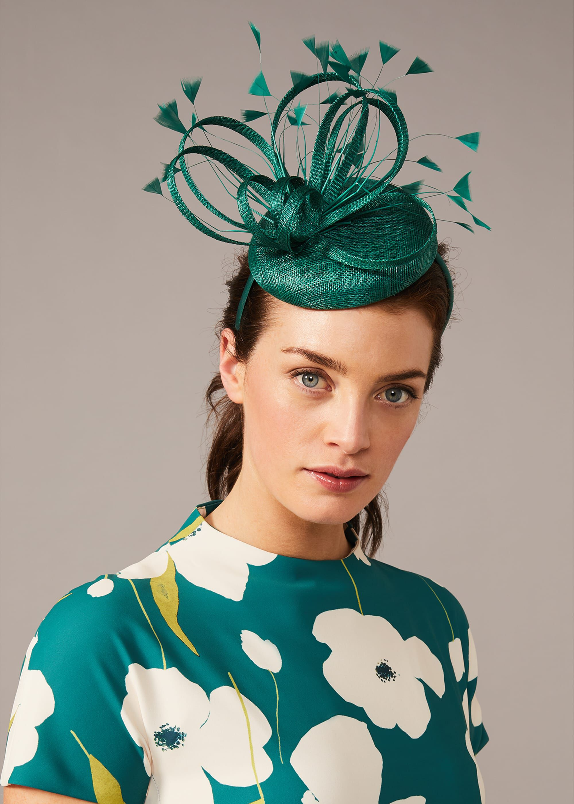 Phase Eight Paloma Feather Pillbox Fascinator, Green, Fascinator