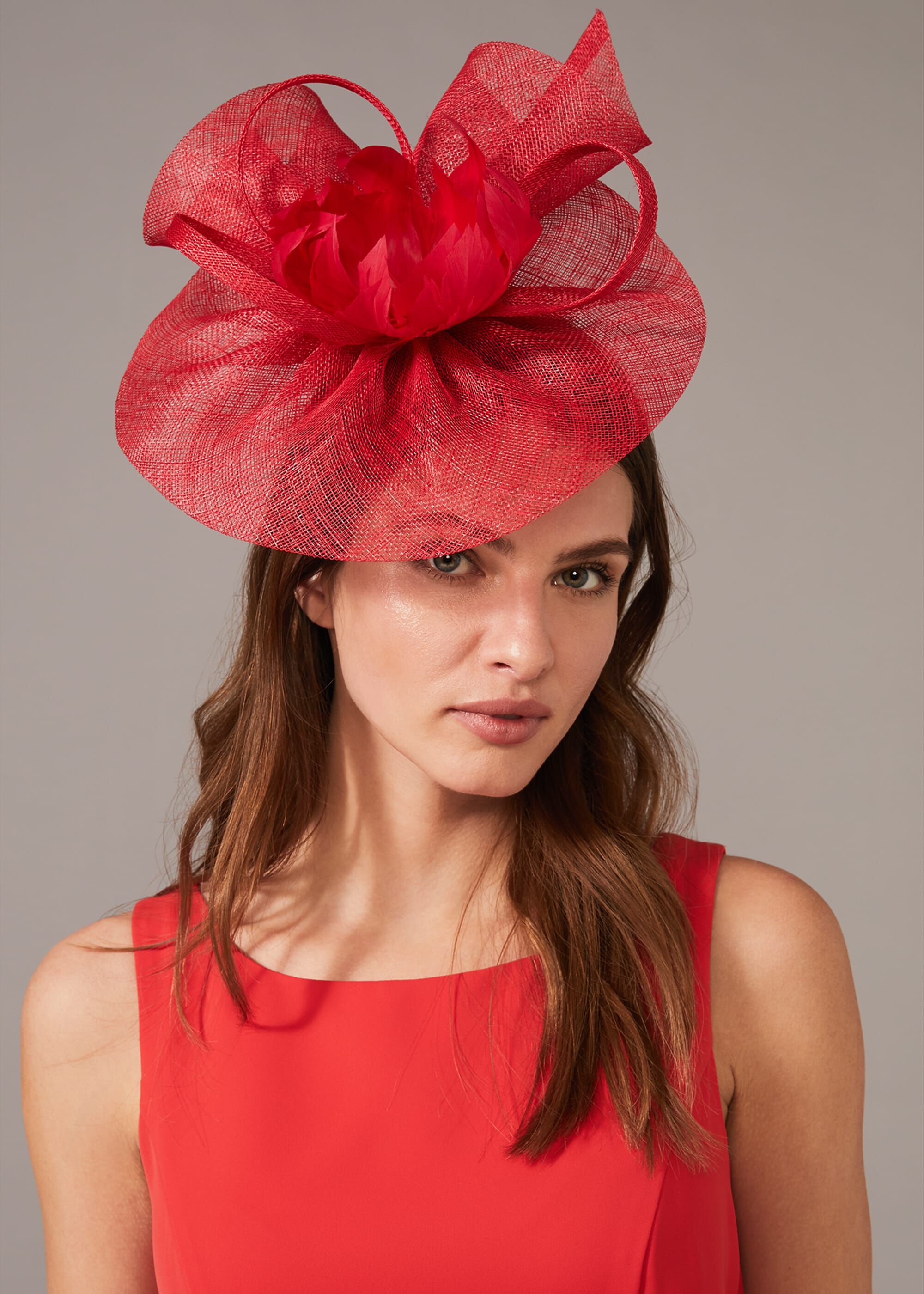 Phase Eight Lorna Large Disc Fascinator, Red, Fascinator