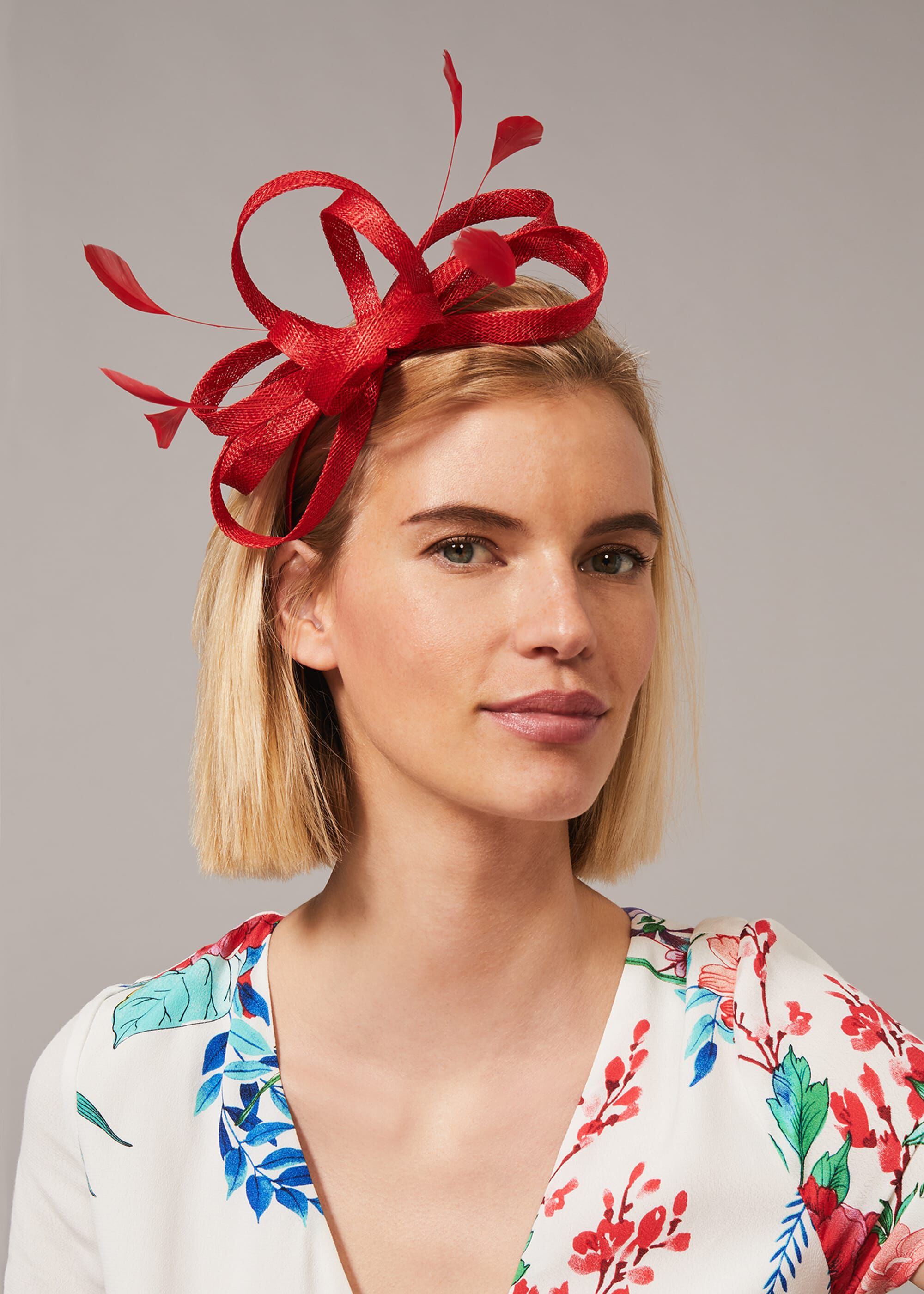 Phase Eight Tabitha Headband, Red, Fascinator