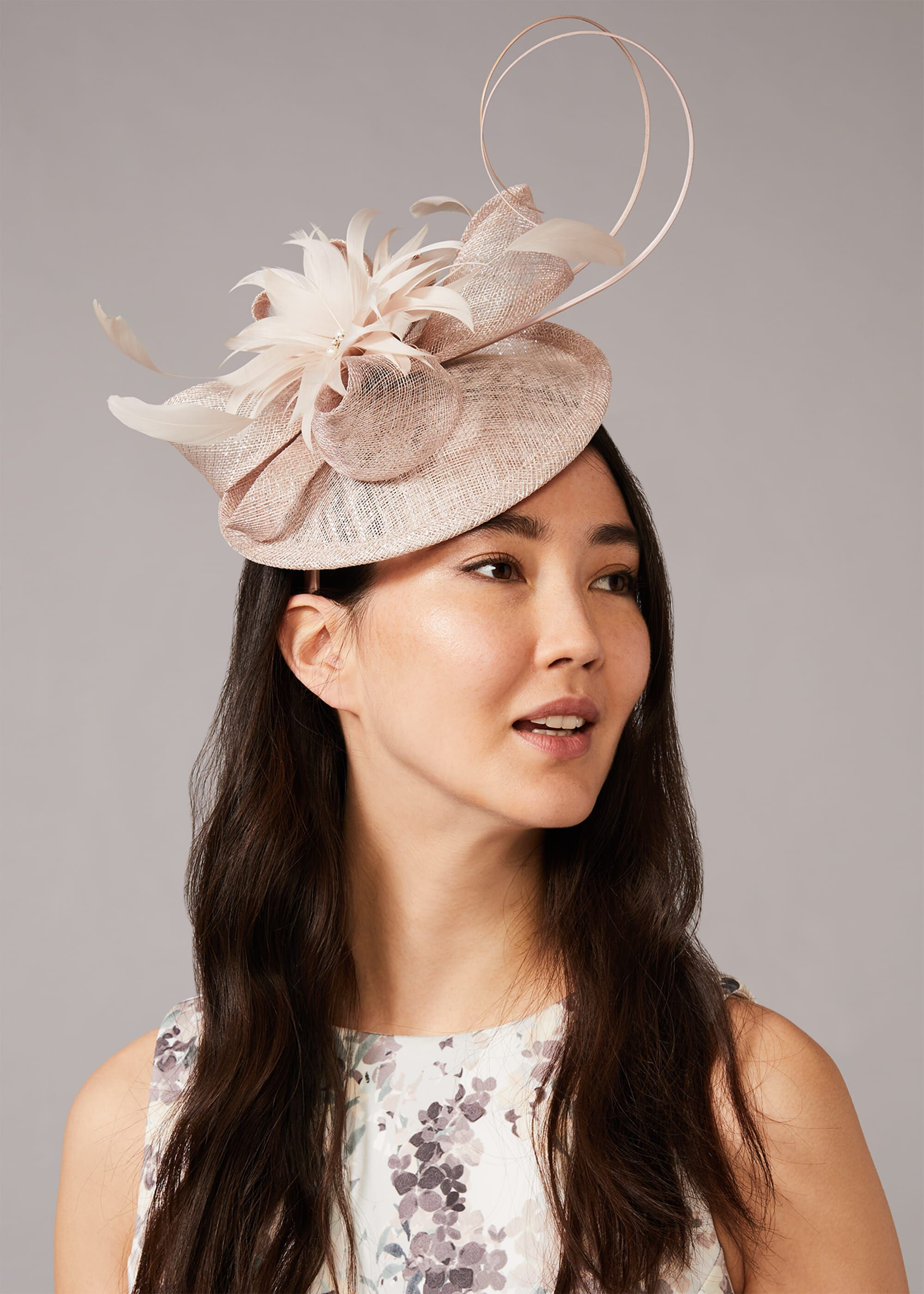 Phase Eight Morgan Metallic Pillbox Fascinator, Neutral, Fascinator