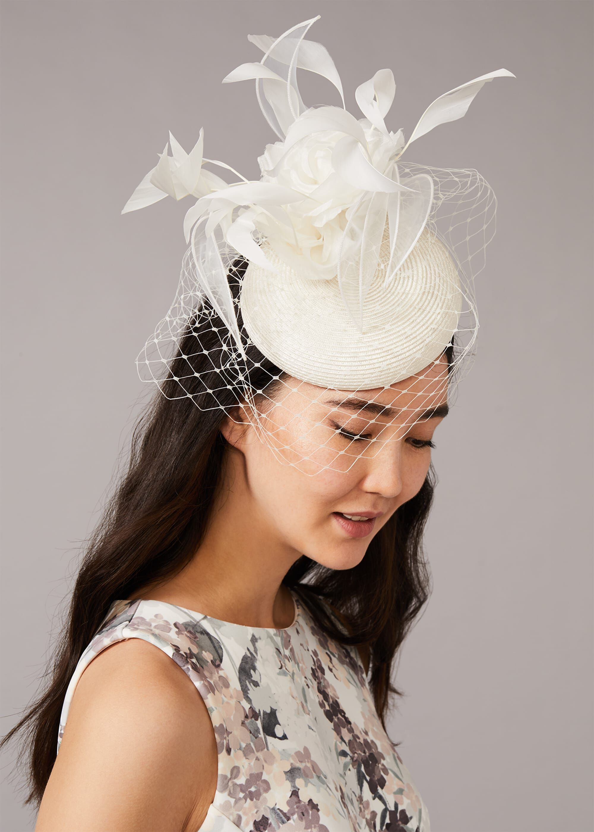 Phase Eight Fliss Feather Pillbox, Cream, Fascinator
