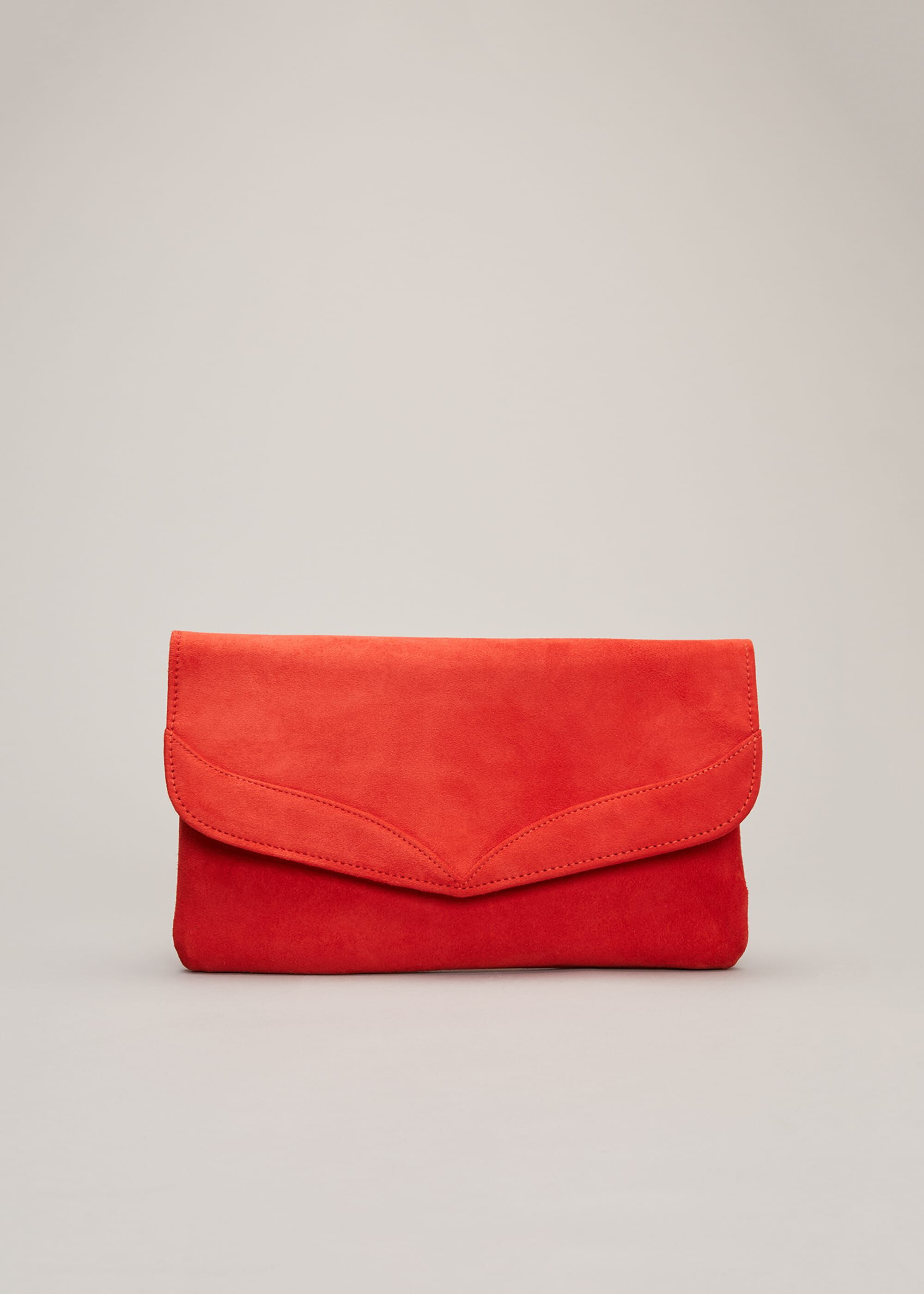 Phase Eight Caitlin Suede Clutch Bag, Red, Bag