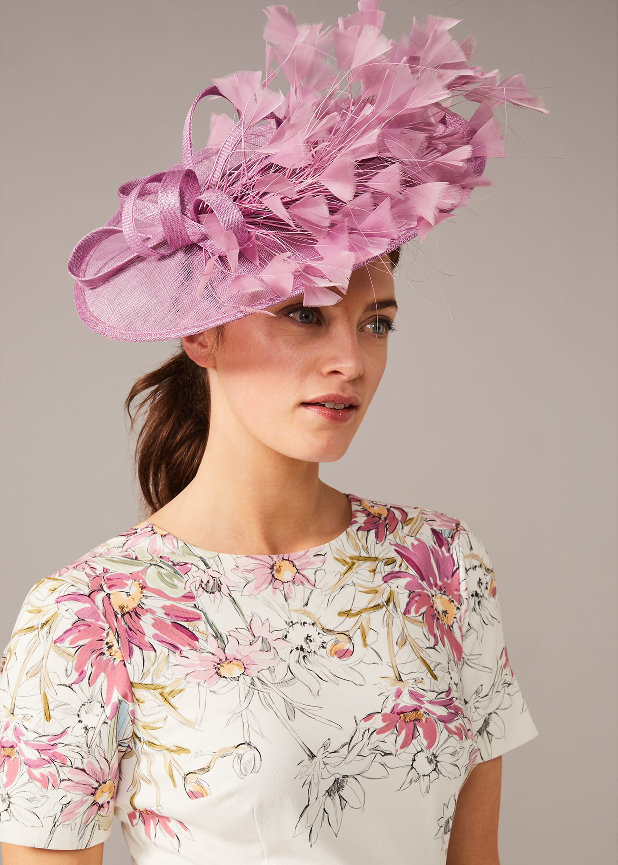 Phase Eight Mikaela Feather Disc, Pink, Fascinator