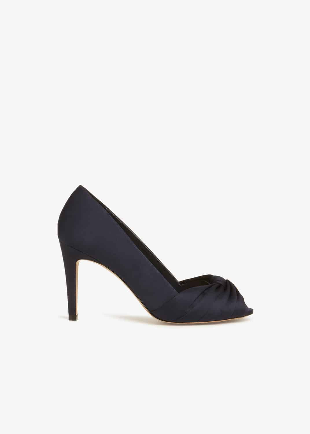 Phase Eight Minnie Knot Front Peep Toe Shoes, Blue, Sandals