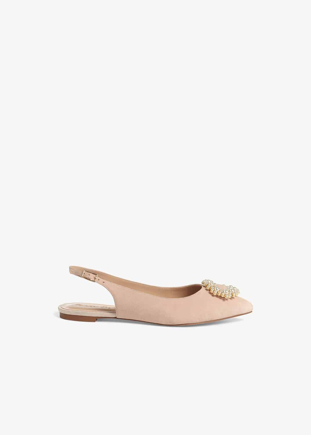 Phase Eight Abi Faux Pearl Trim Leather Slingback Flat Shoes, Pink, Flat Shoes