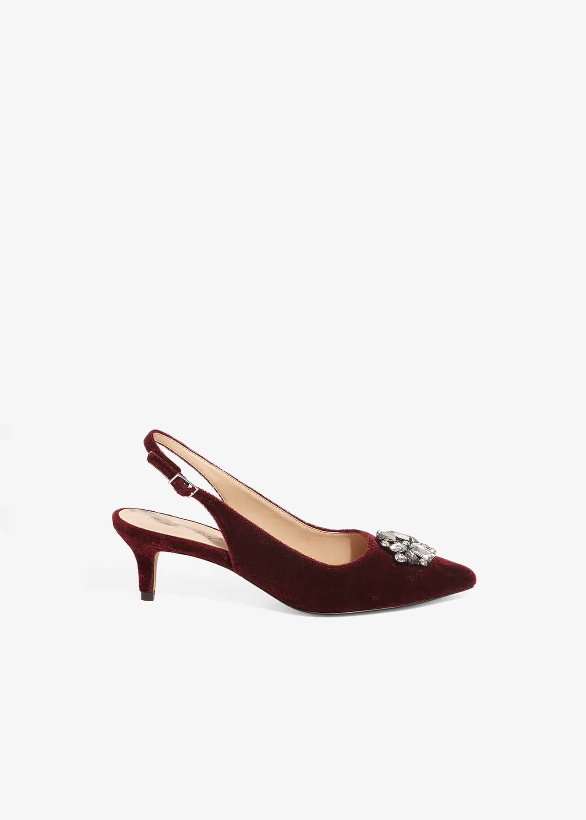 Phase Eight Juliet Jewel Kitten Heel Slingback Court, Red, High Heels
