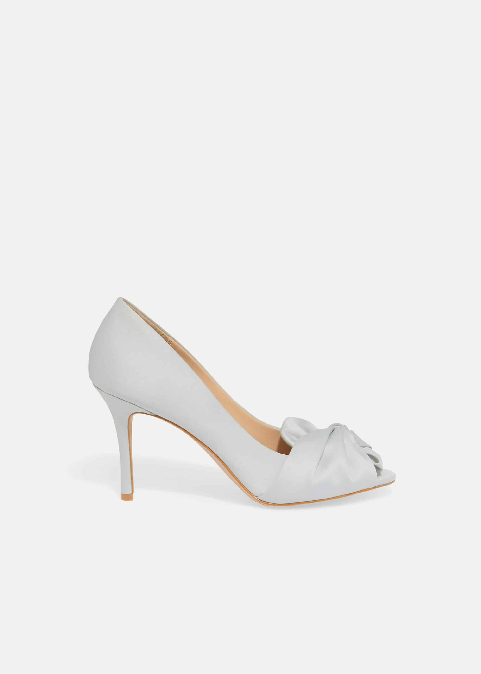 Phase Eight Alice Bow Peep Toe Shoes, Blue, Sandals