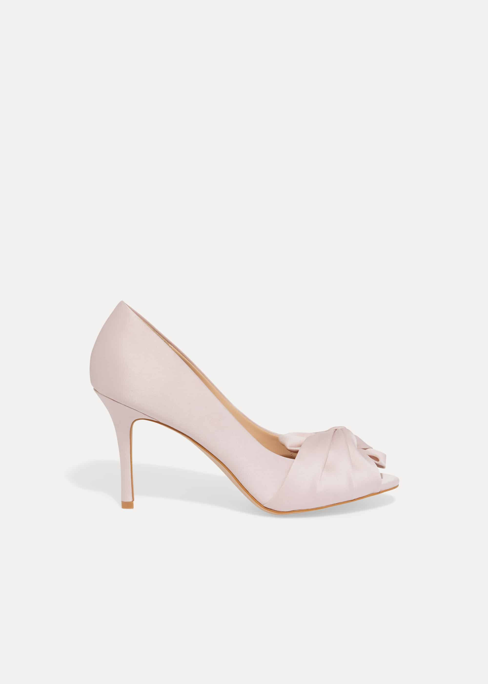 Phase Eight Alice Bow Peep Toe Shoes, Pink, Sandals