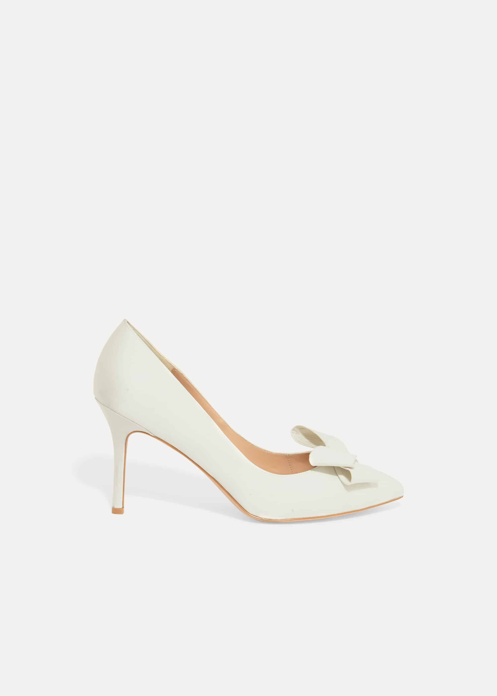 Phase Eight Kara Satin Pointed Court Shoes, Cream, High Heels