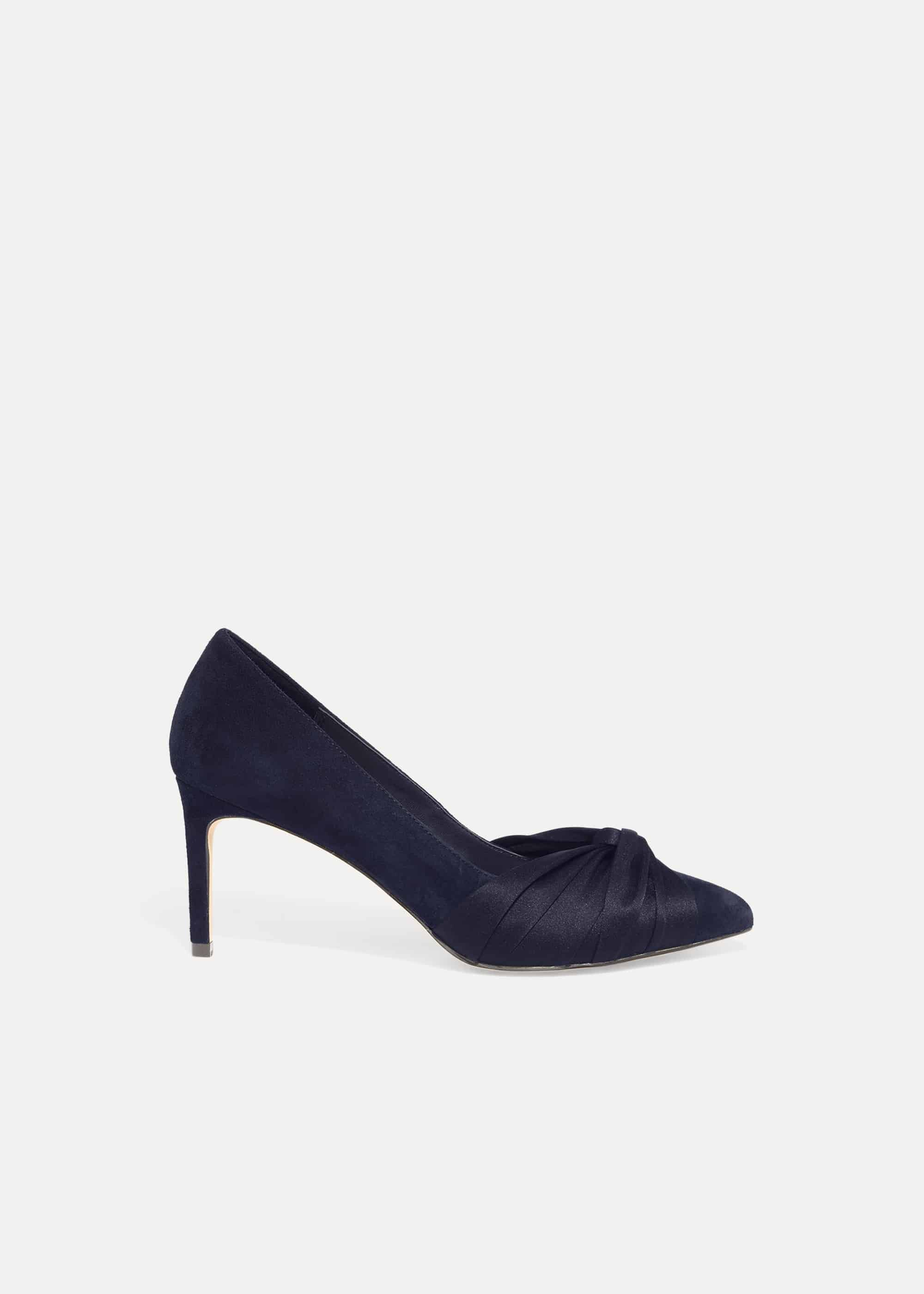 Phase Eight Kendal Knot Front Pointed Court Shoes, Blue, High Heels
