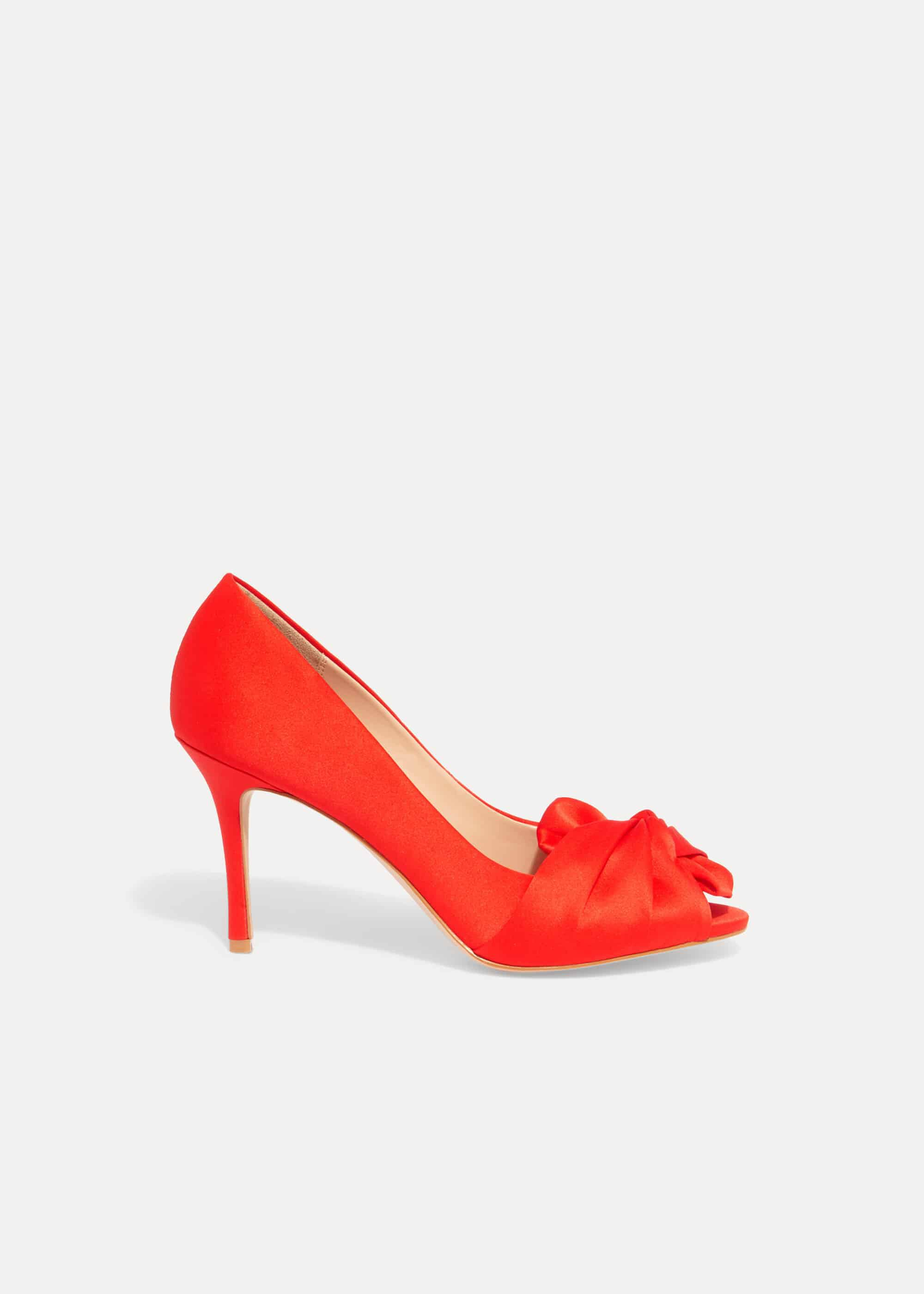 Phase Eight Alice Bow Peep Toe Shoes, Red, Sandals