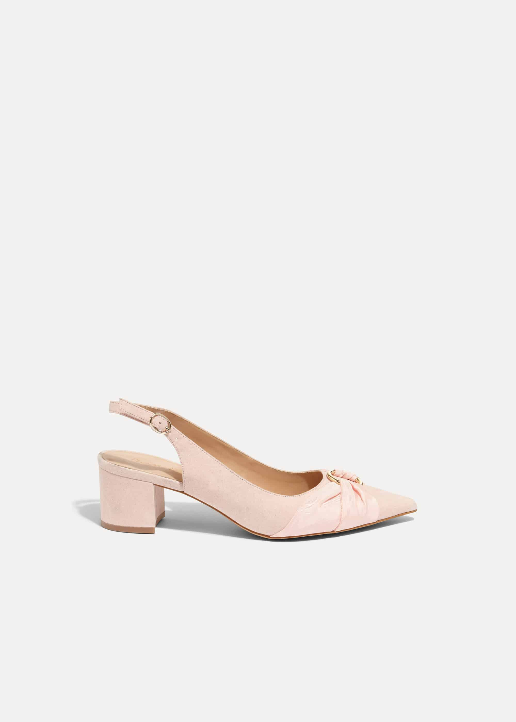 Phase Eight Giselle Block Heel Court Shoes, Pink, High Heels