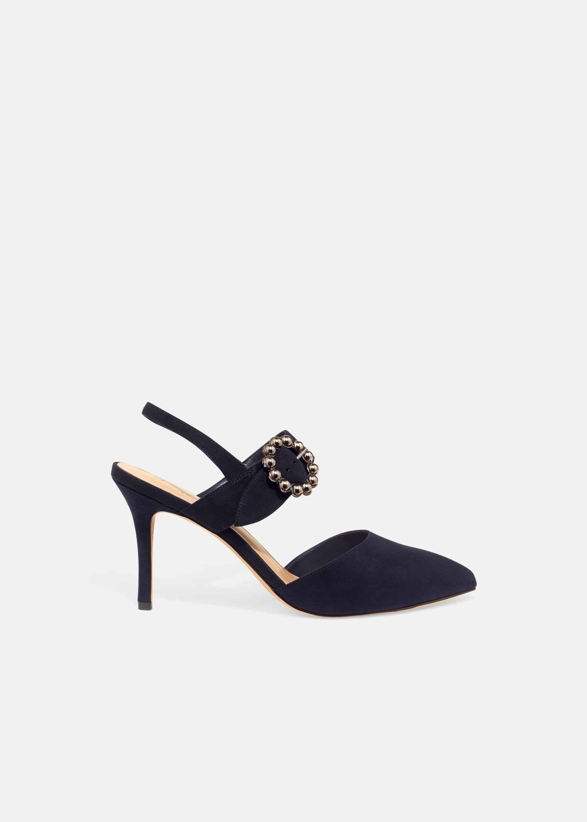 Phase Eight Joss Jeweled Buckle Court Shoes, Blue, High Heels