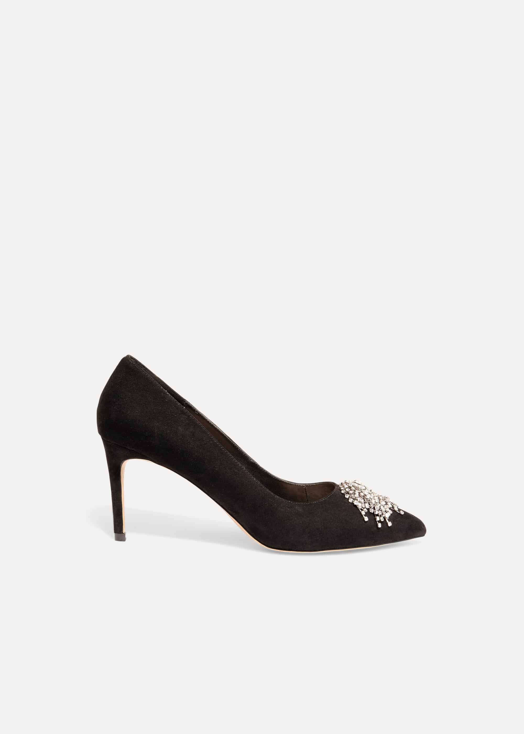 Phase Eight Shae Sparkle Front Court Shoe, Black, High Heels