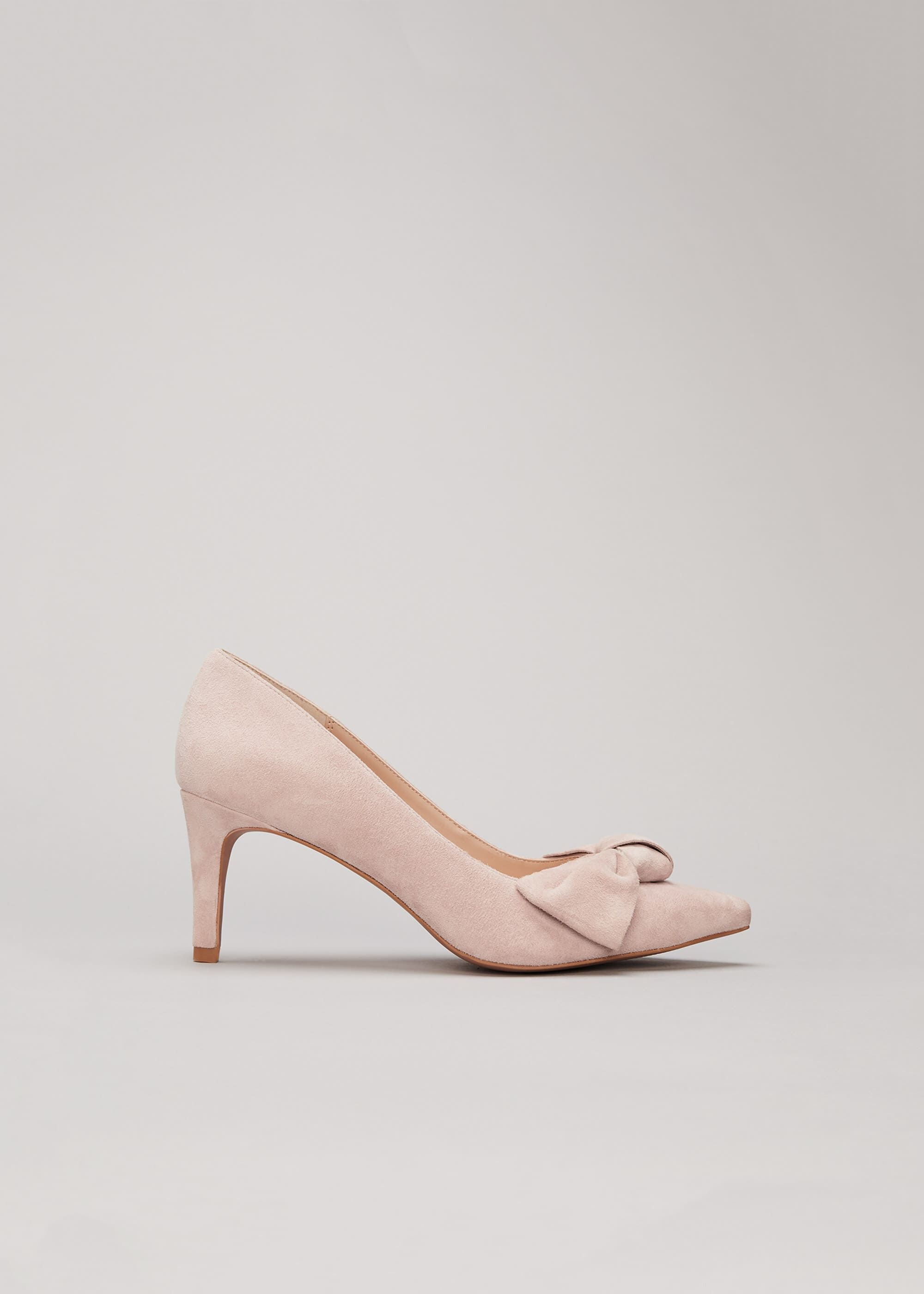 Phase Eight Sim Suede Bow Court Shoe, Neutral, High Heels
