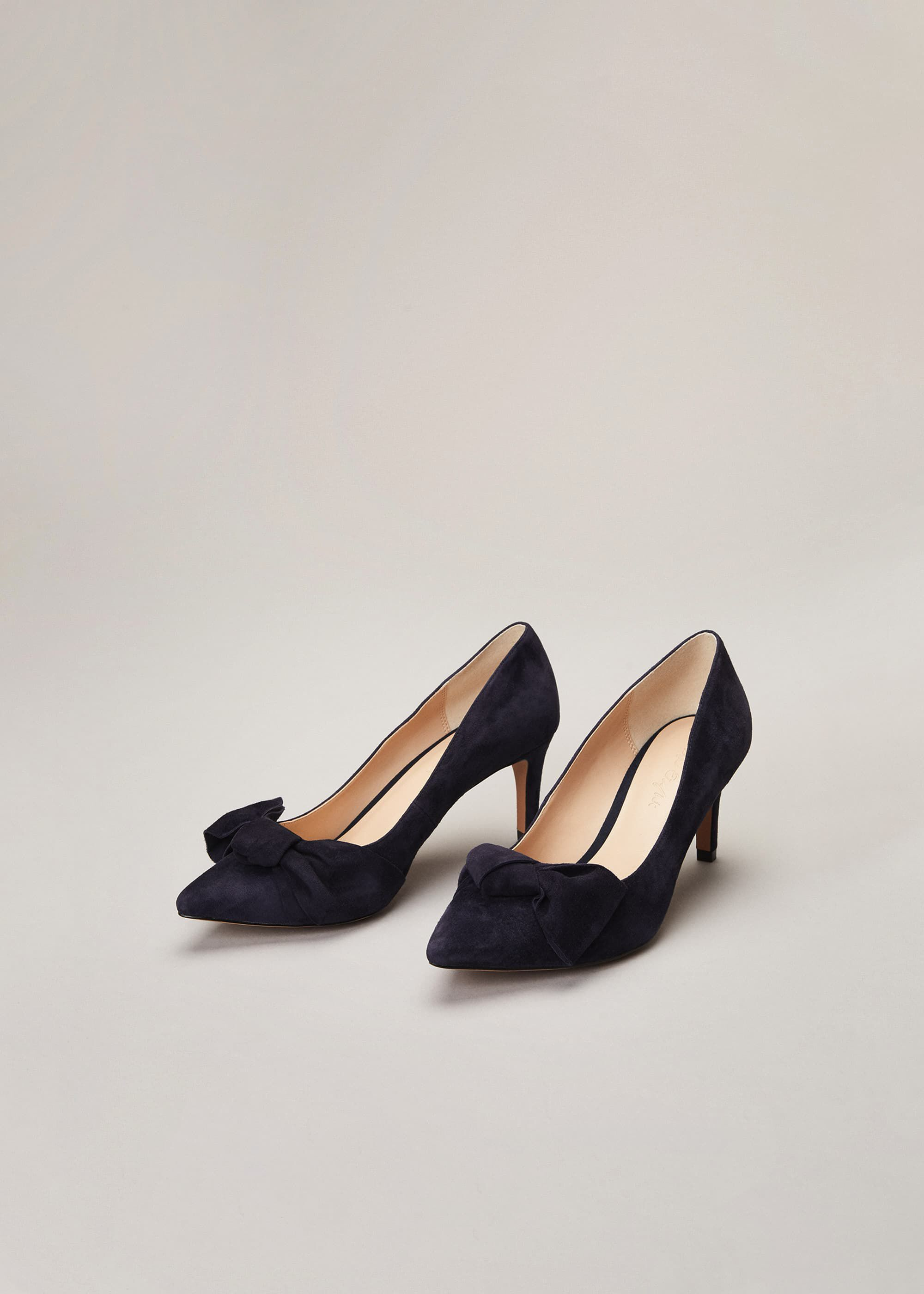 Phase Eight Sim Suede Bow Court Shoe, Blue, High Heels
