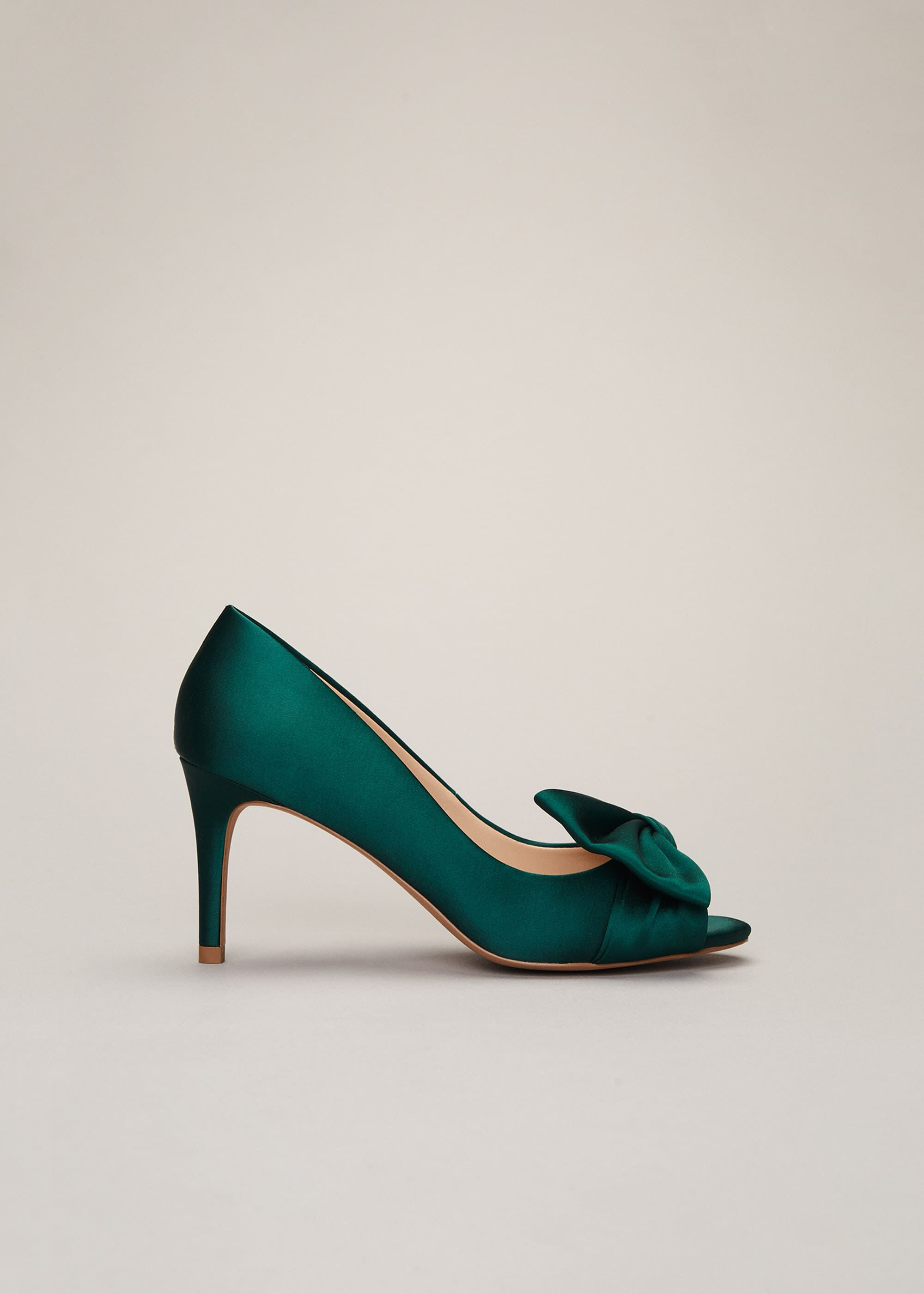 Phase Eight Meaghan Satin Bow Peep Toe, Green, High Heels