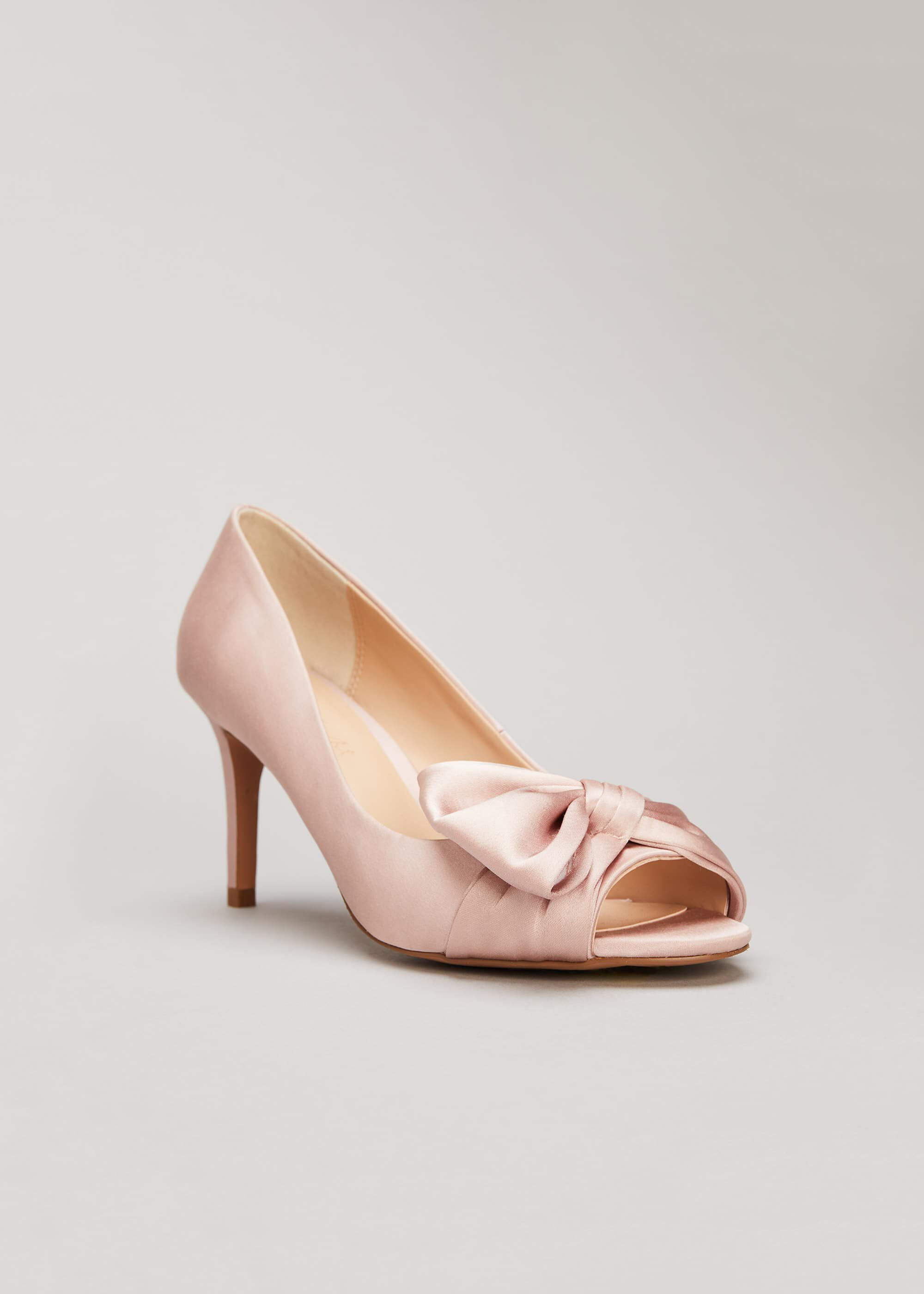 Phase Eight Meaghan Satin Bow Peep Toe, Pink, High Heels