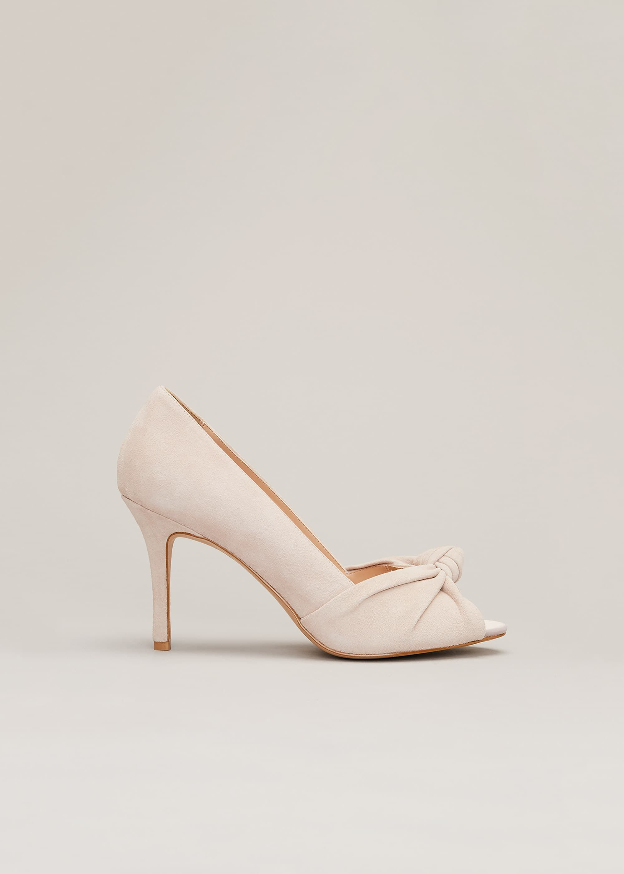 Phase Eight Sonja Suede Peep Toe Shoe, Neutral, High Heels
