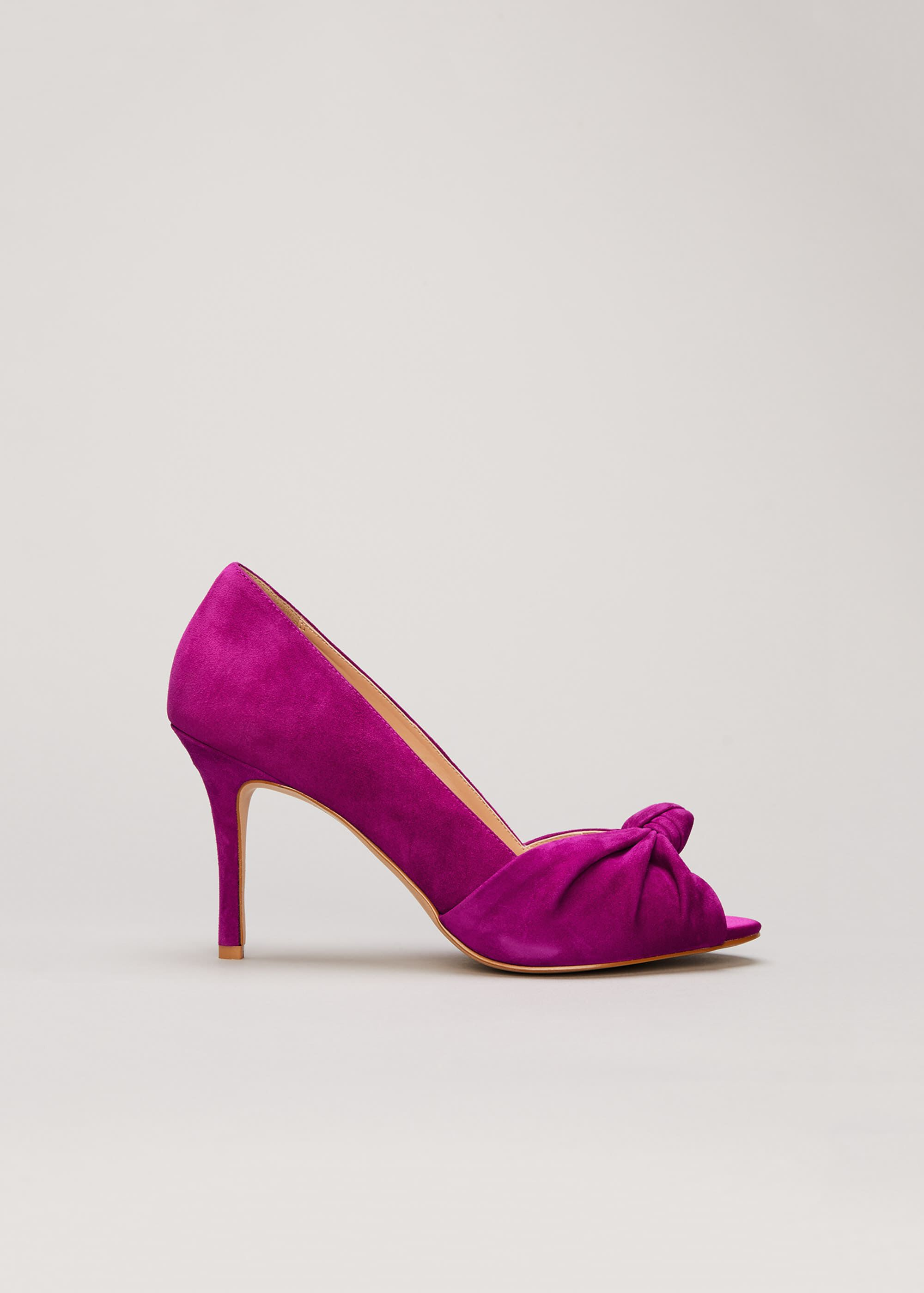 Phase Eight Sonja Suede Peep Toe Shoe, Purple, High Heels