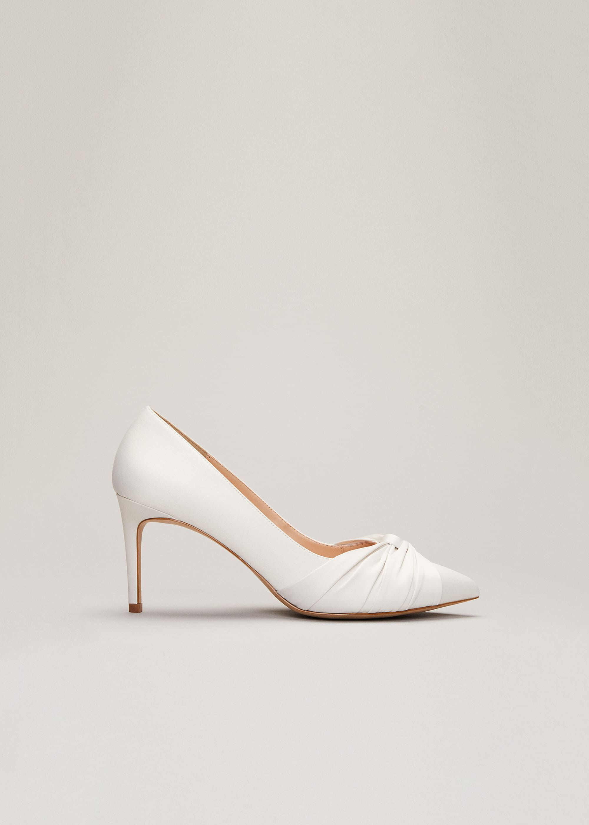 Phase Eight Kendal Satin Court Shoe, Cream, High Heels