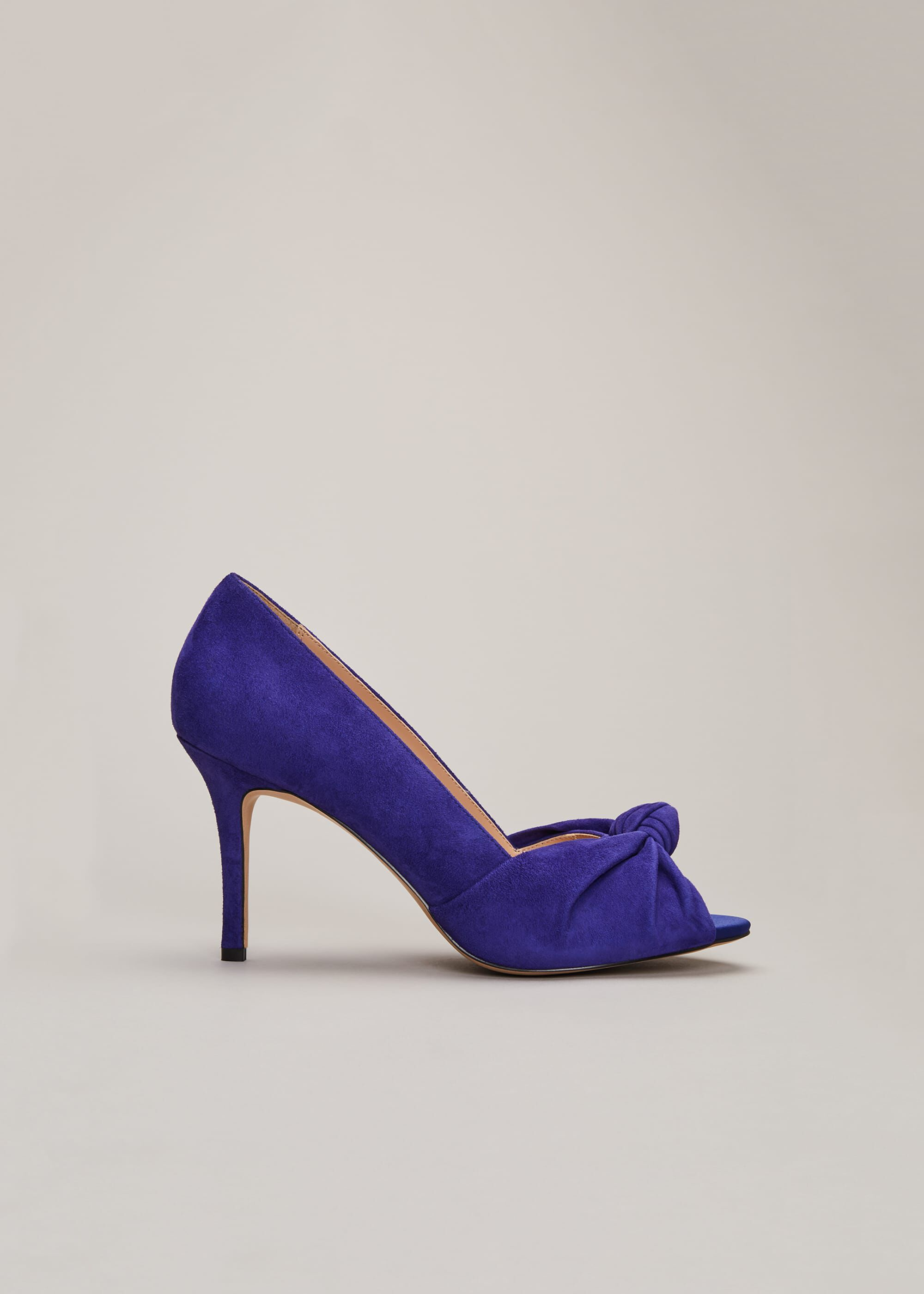Phase Eight Sonja Knot Front Peep Toe Shoe, Blue, High Heels