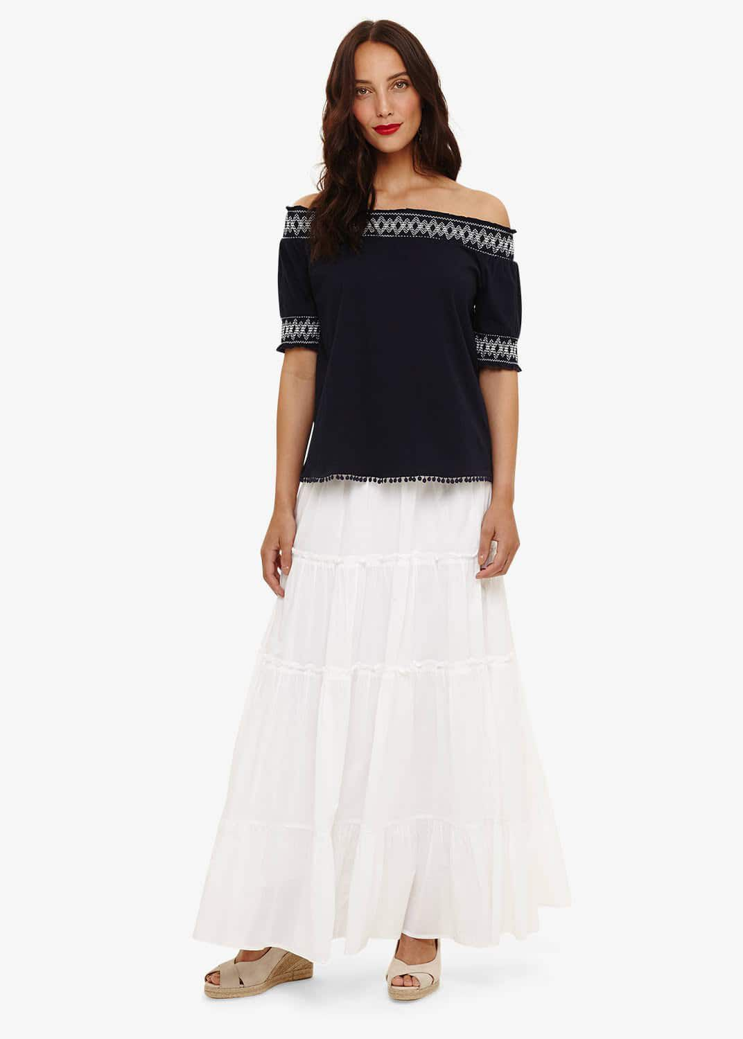 Phase Eight Catherine Tiered Maxi Skirt, White, Maxi Skirt