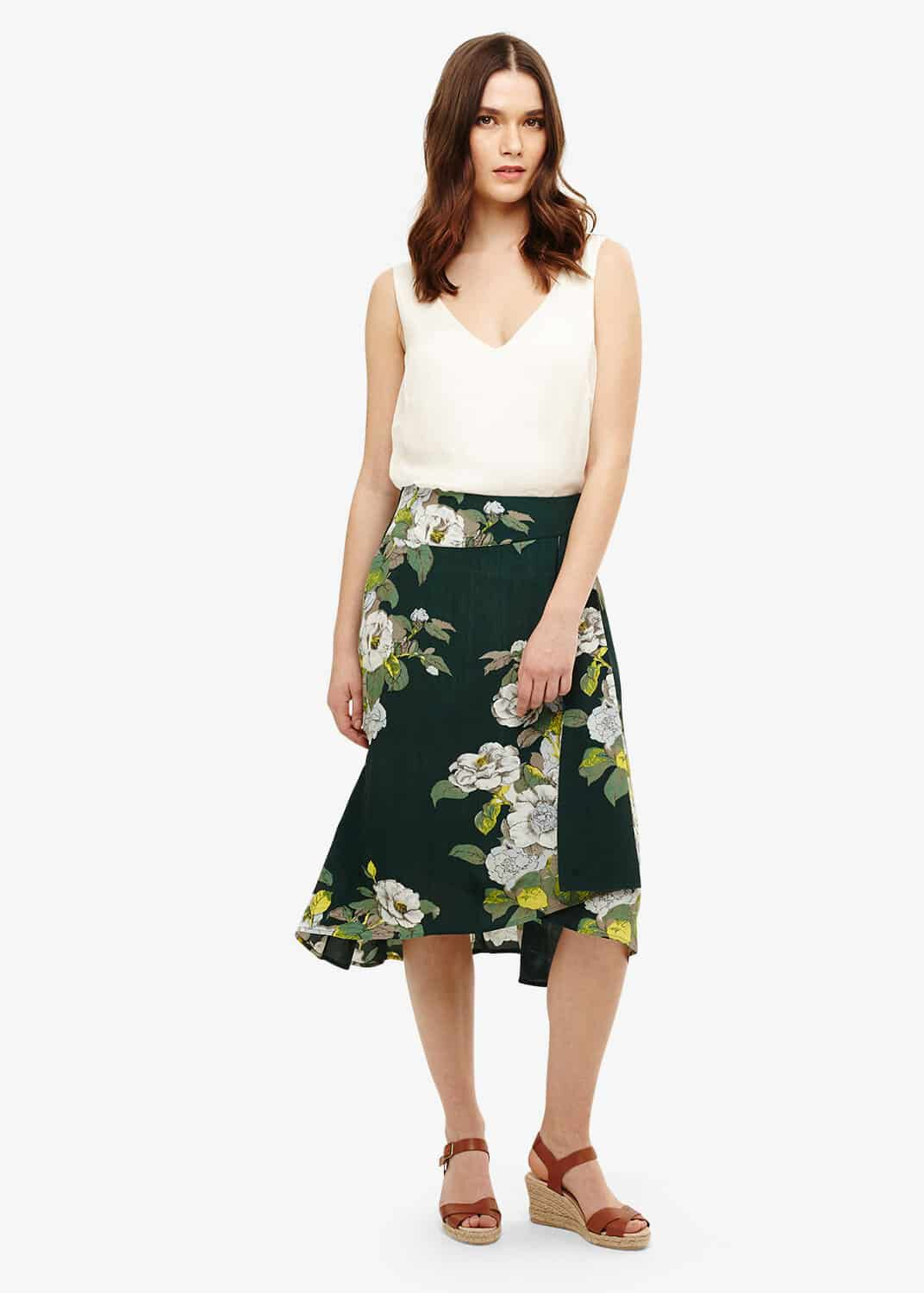 Phase Eight Chrissy Botanical Print Skirt, Green, Below Knee Skirt