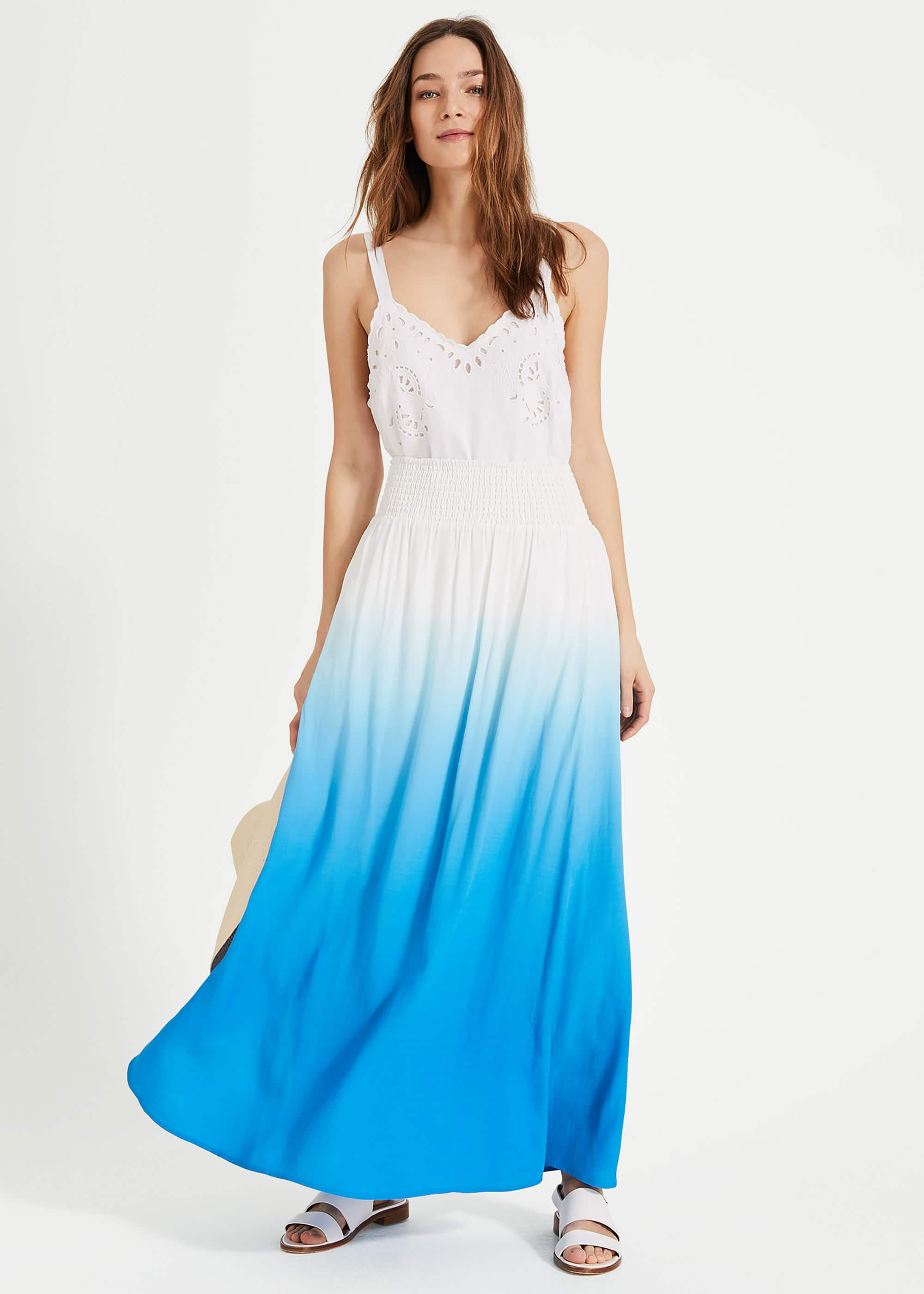 Phase Eight Sam Dip Dye Maxi Skirt, Blue, Maxi Skirt