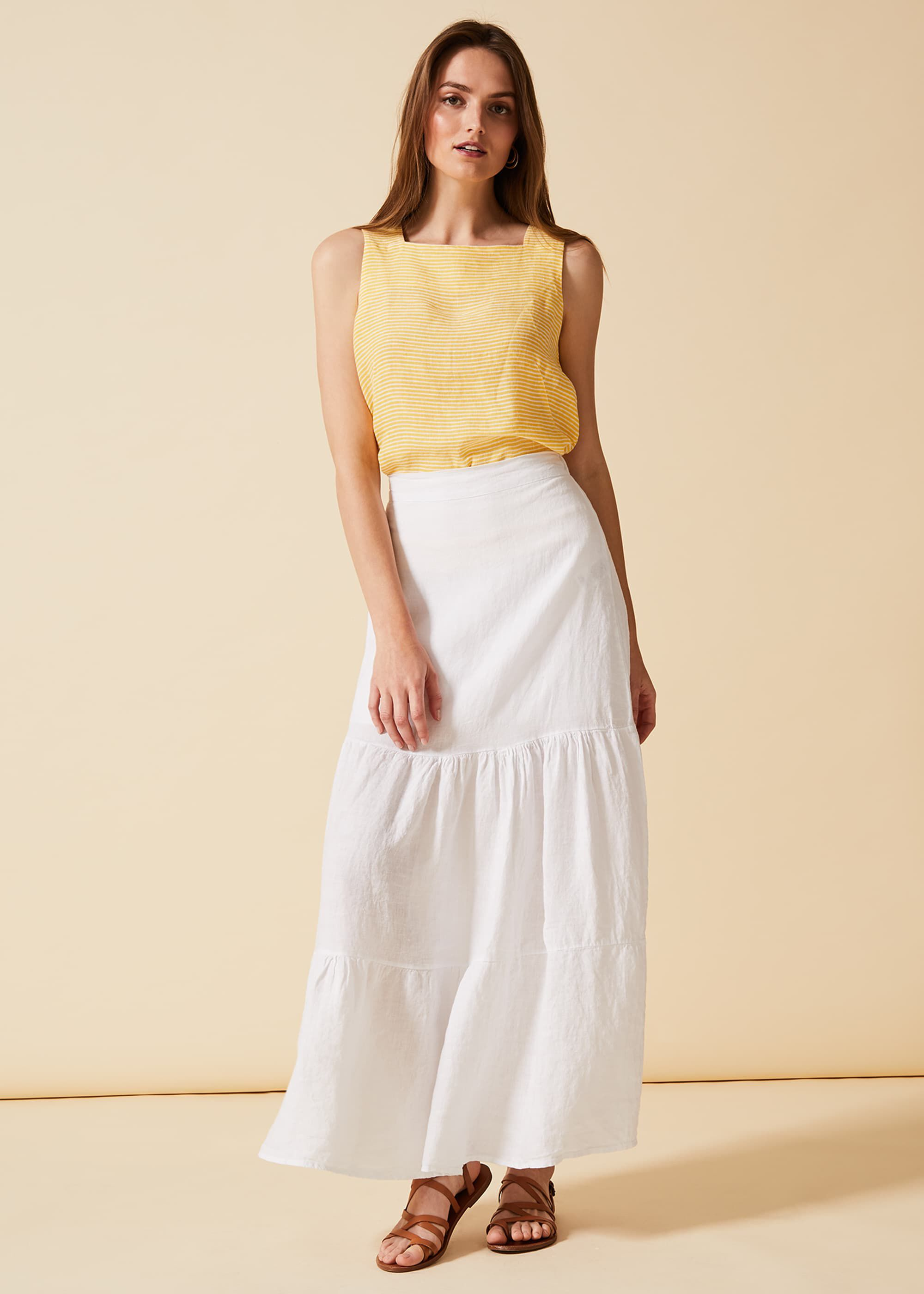 Phase Eight Arvinder Linen Skirt, White, Maxi Skirt