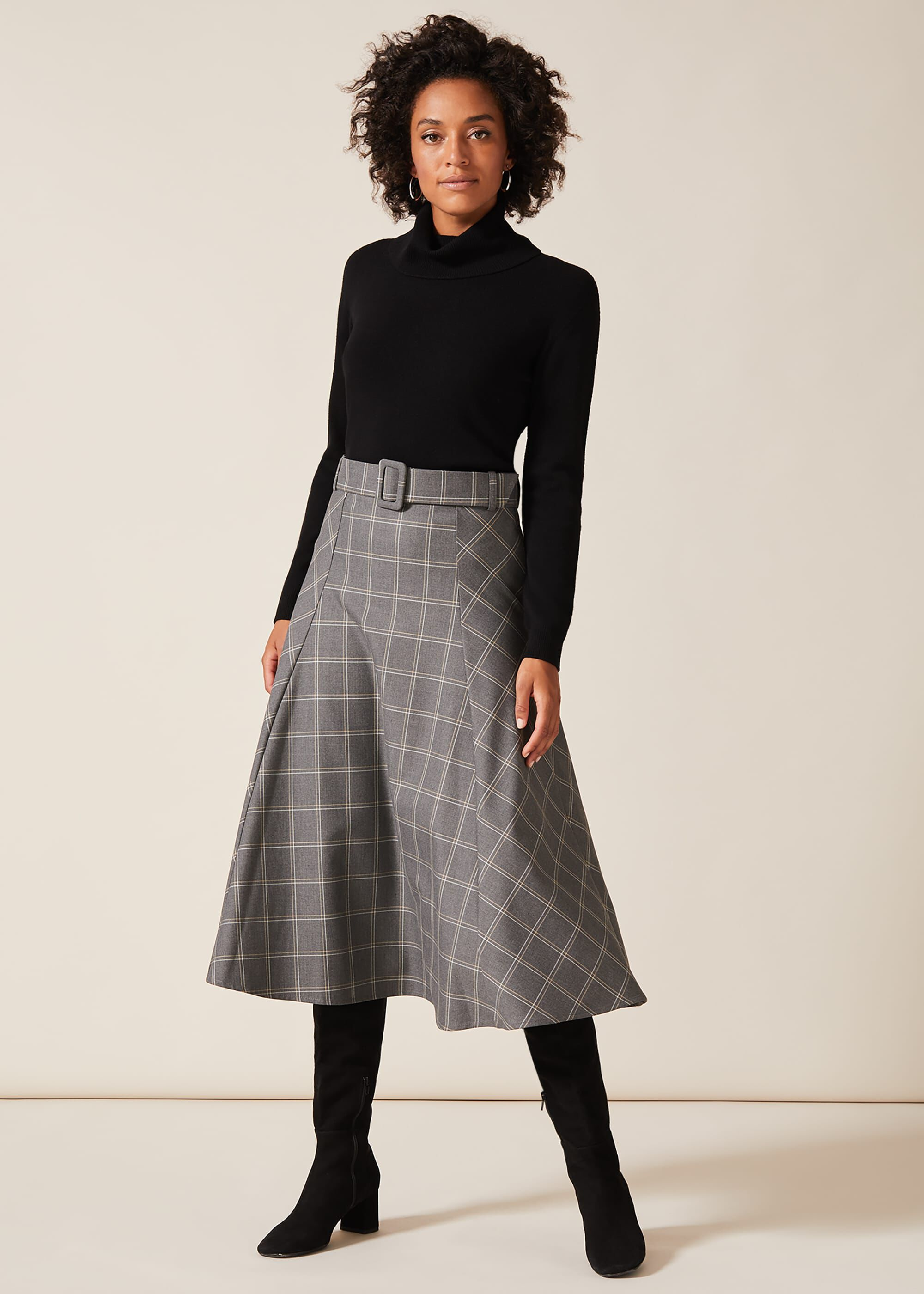 Phase Eight Check A Line Skirt, Grey, Below Knee Skirt