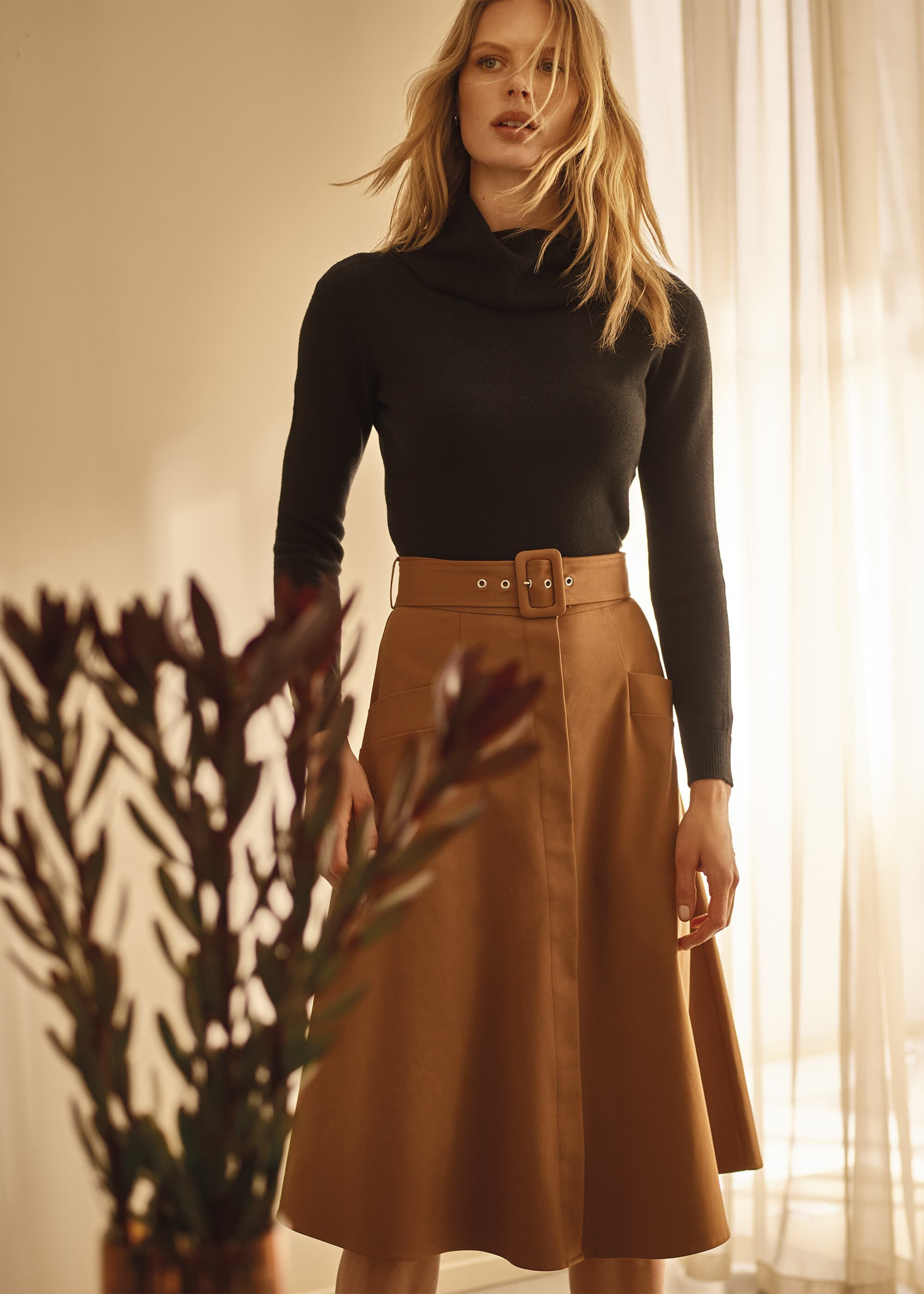 Phase Eight Utility A Line Skirt, Brown, Knee Length Skirt