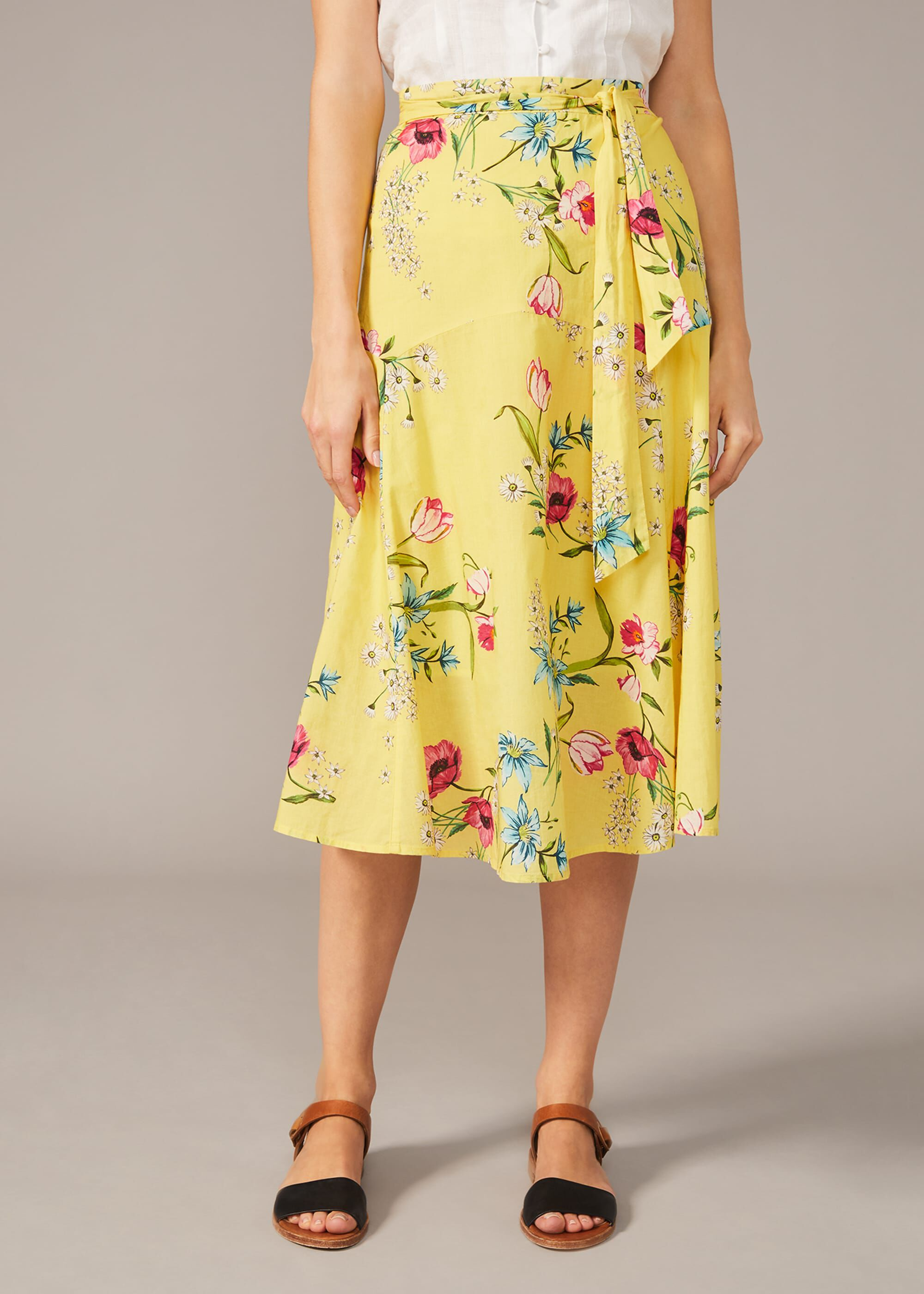 Phase Eight Louma Floral Cotton Midi Skirt, Yellow, Regular Skirt