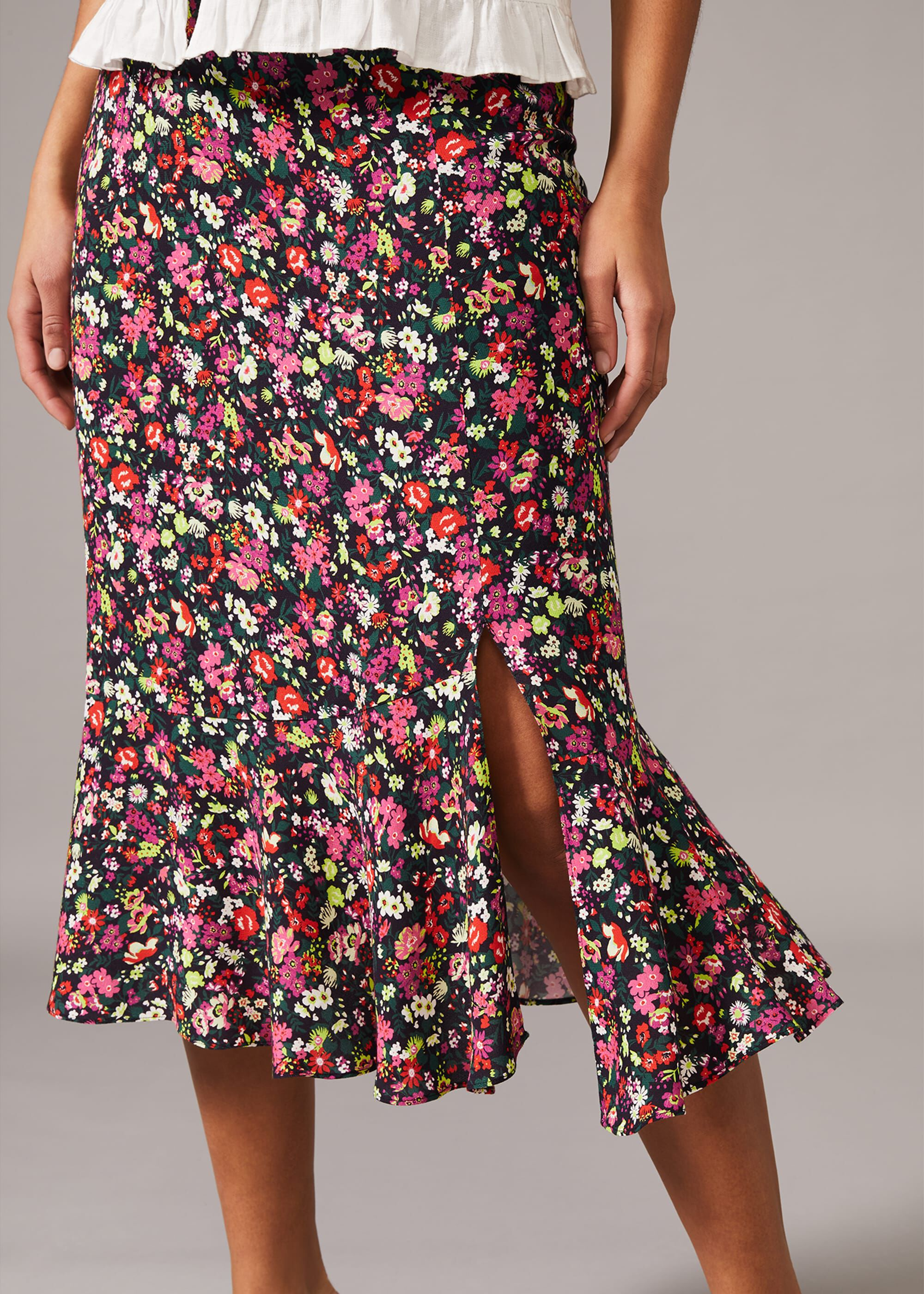 Phase Eight Libertine Floral Midi Skirt, Multicoloured, Midi Length Skirt