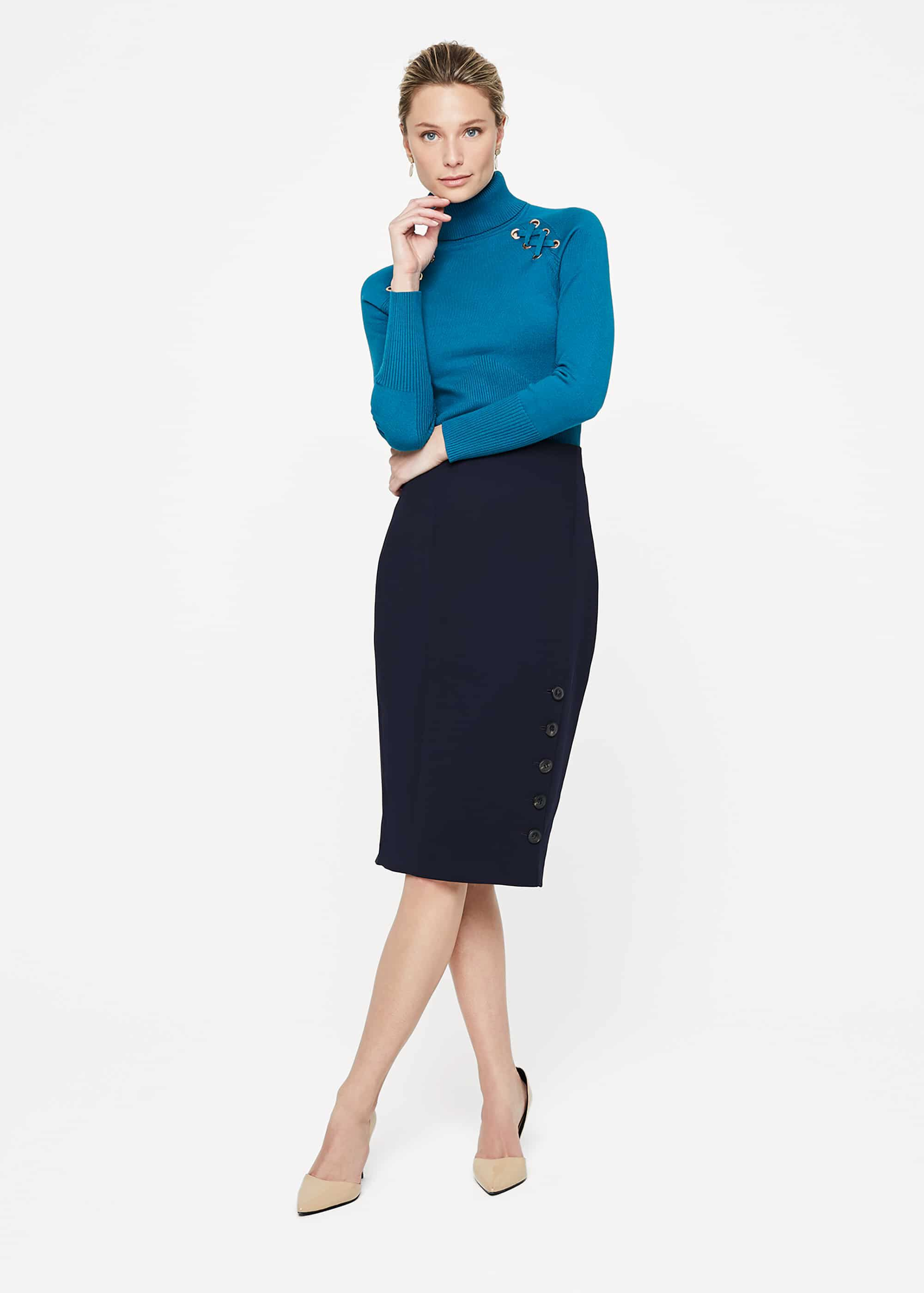 Damsel in a Dress Lydia City Suit Skirt, Blue