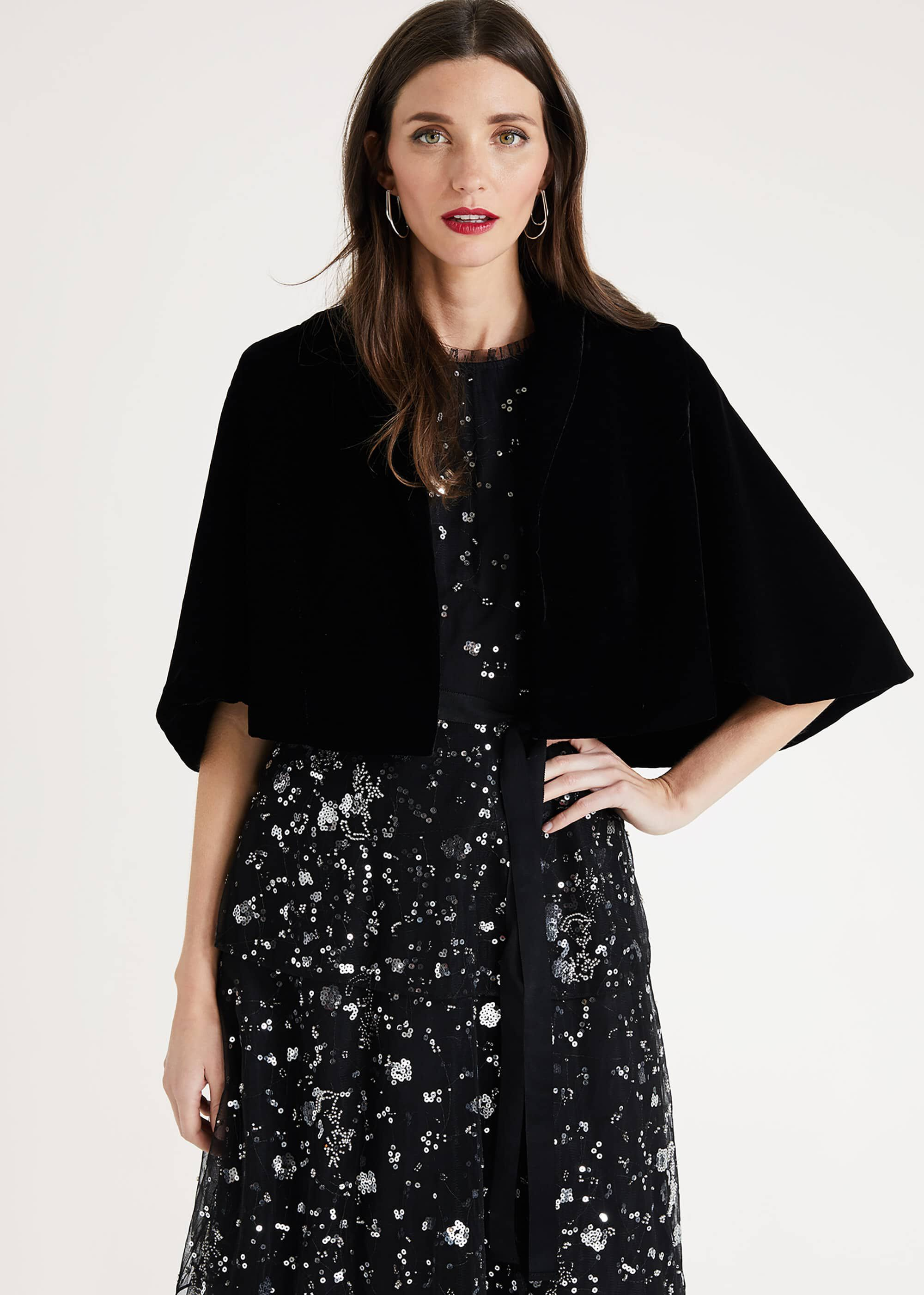 Phase Eight Amalie Velvet Cape Jacket, Black