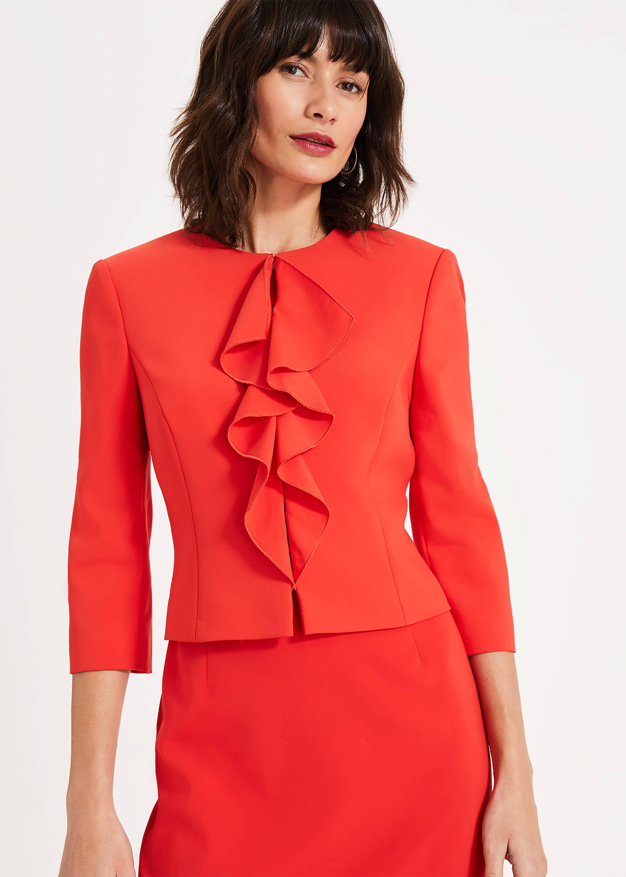 Phase Eight Stella Frill Jacket, Red