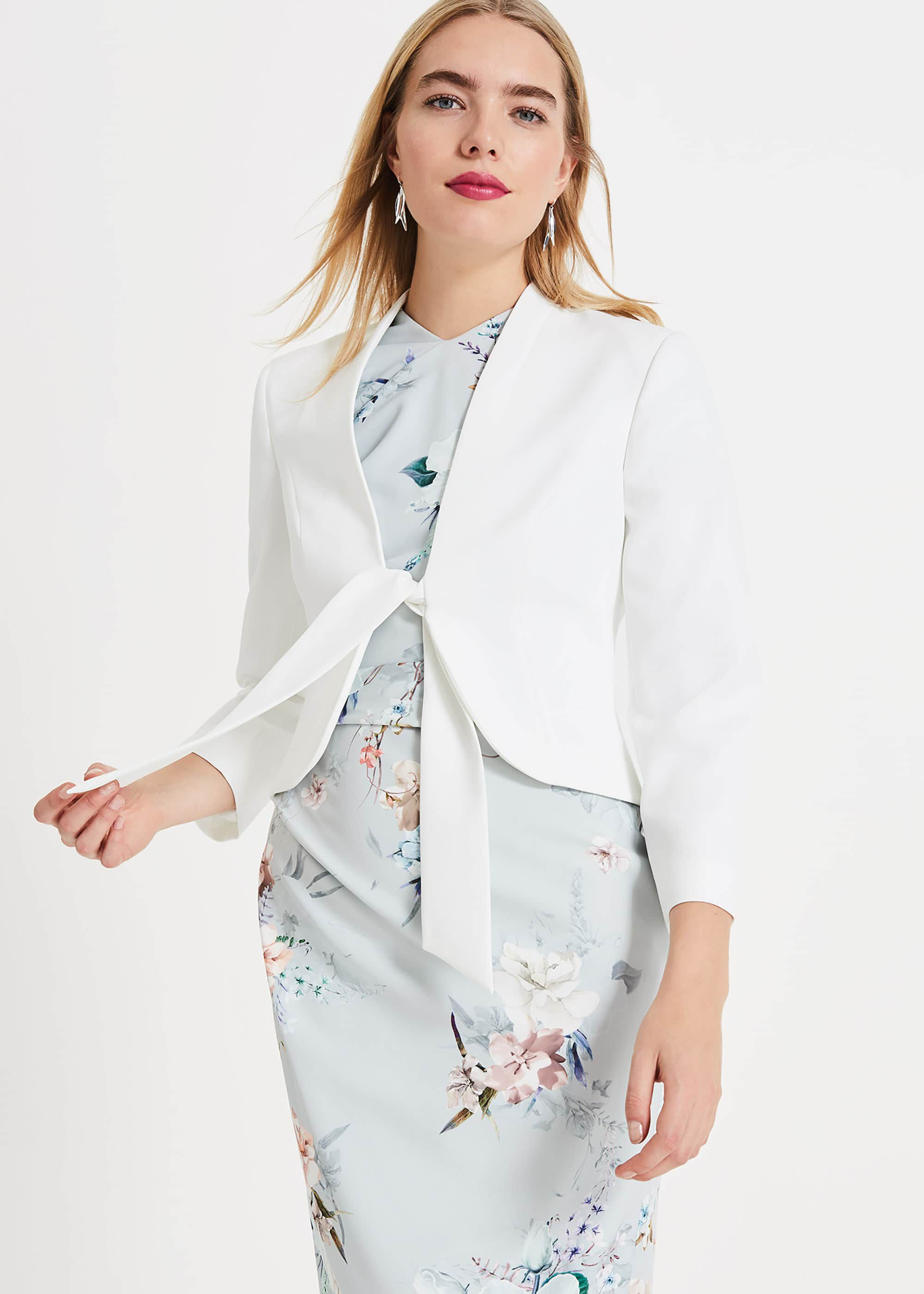 Phase Eight Karen Tie Front Jacket, Cream